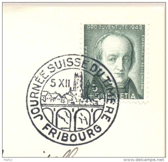 Schweiz - 1943 - 5+5 Cent Pro Juventute On Postcard Journee Du Timbre Fribourg To Geneve - Briefe U. Dokumente