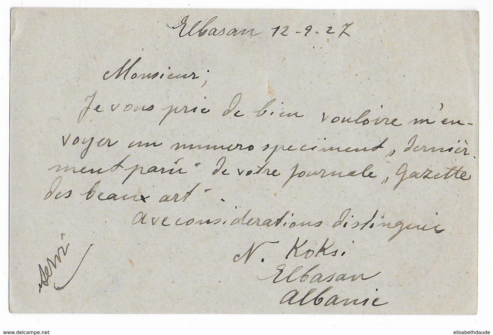 ALBANIE - 1927 - CARTE ENTIER ZOGU VOYAGEE De ELBASAN => PARIS - RARE ! - Albania