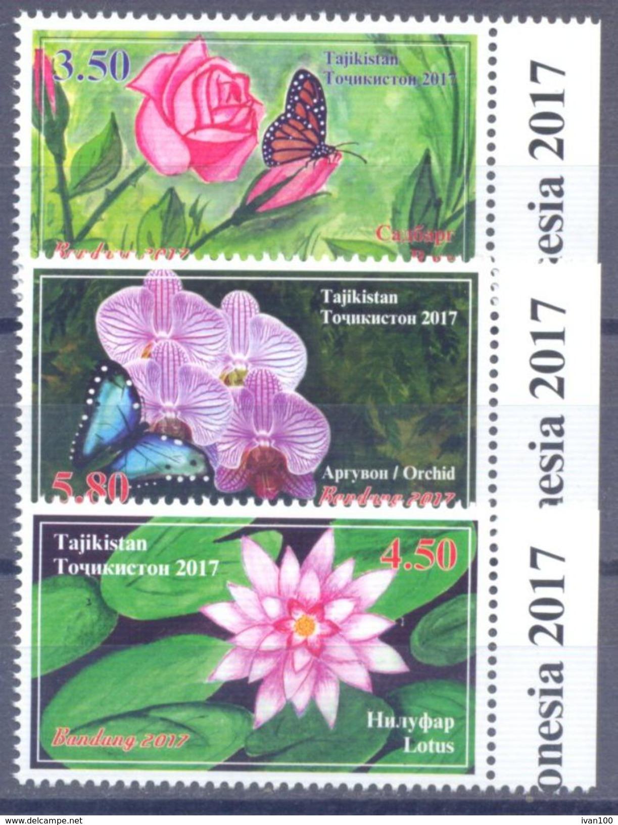 2017. Tajikistan, Flowers & Insects, International Philatelic Exhibition, 3v Perforated, Mint/** - Tadschikistan