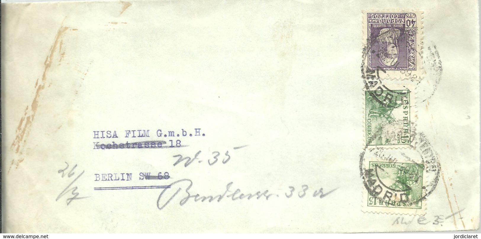 CARTA 1939  CENSURA MILITAR - Marcas De Censura Nacional