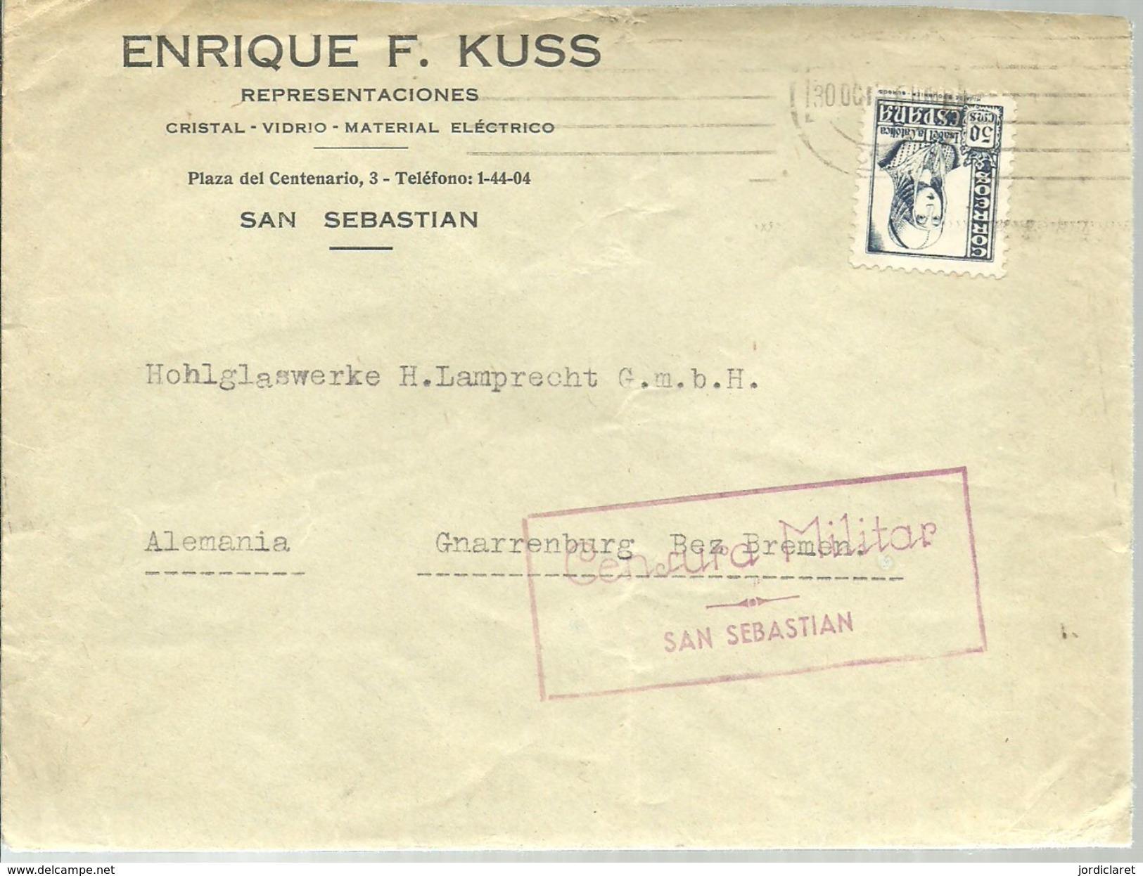 CARTA 1939  CENSURA MILITAR SAN SEBASTIAN - Marcas De Censura Nacional