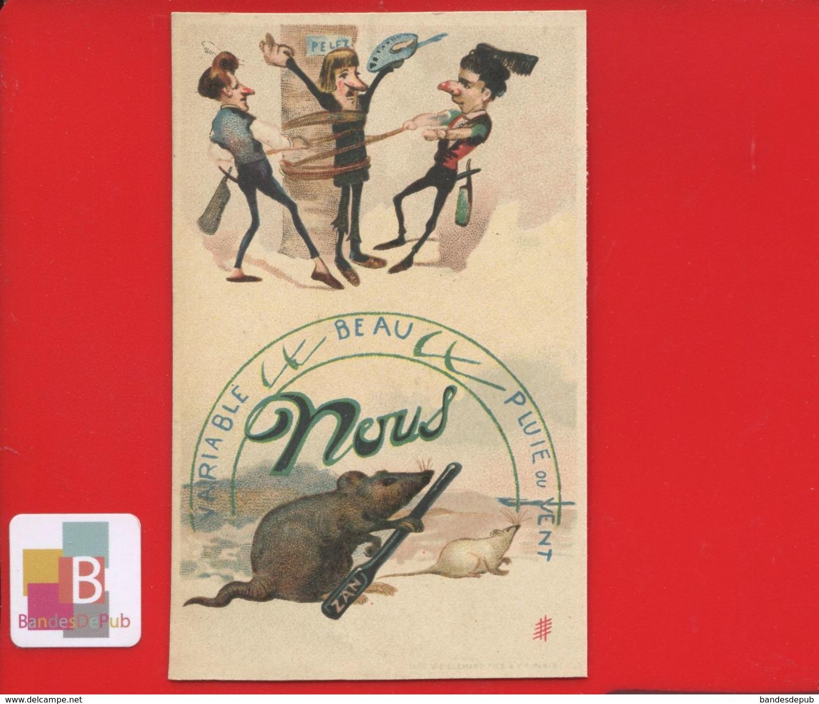 REGLISSE ZAN CHROMO LITH VIEILLEMARD REBUS PERRUQUIER COIFFEUR COIFFURE RASAGE FIGARO RAT BAROMETRE - Other