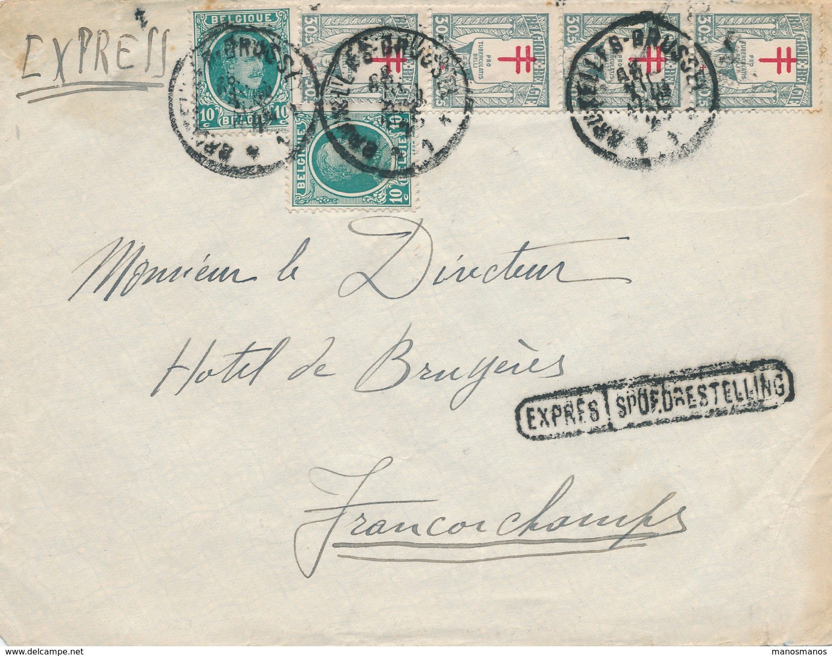 577/25 -  Lettre EXPRES TP Houyoux Et Antituberculeux BXL 1926 Vers FRANCORCHAMPS - Bel Affranchissement - 1922-1927 Houyoux