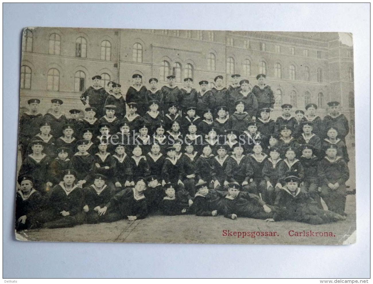 SVEZIA NAVE SHIP HSwMS CARLSKRONA Svenska Marinen Skeppsgossar Old Postcard - Guerra