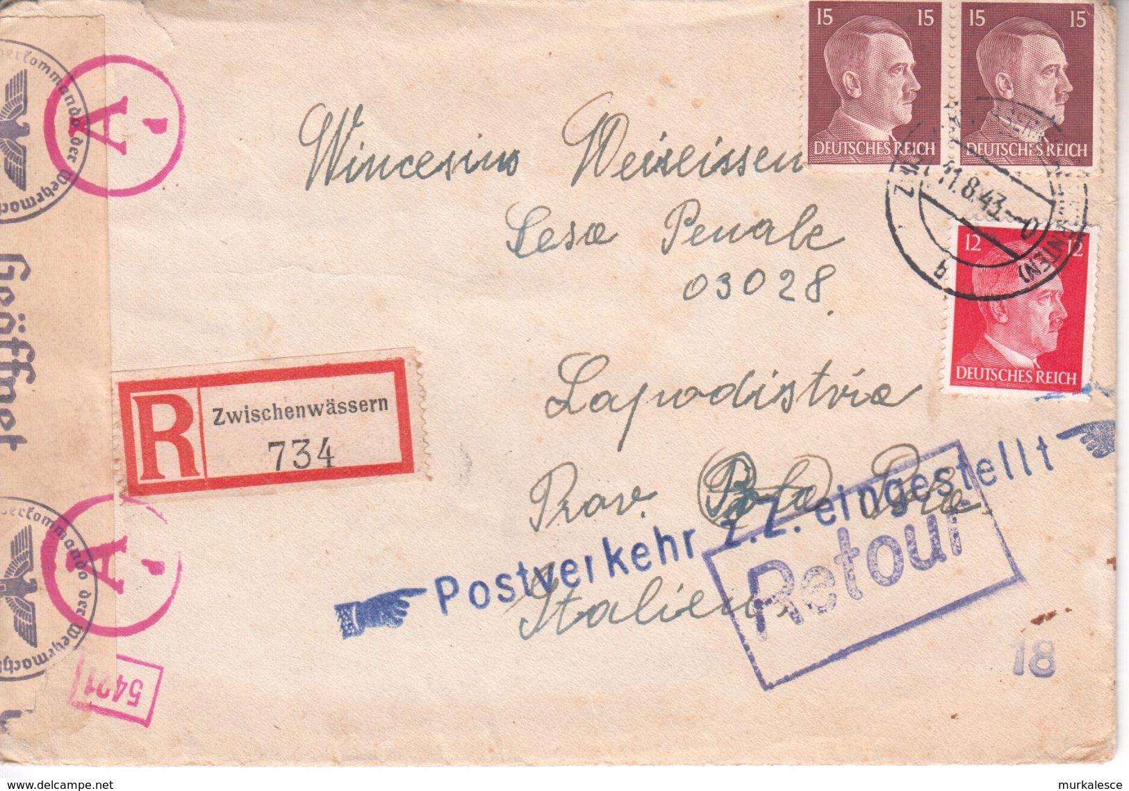 0451  BESETZUNG  SLOVENIJA    BRIEF  1943   ZWISCHENWASSERN-- MEDVODE--NACH   KOPER  -KAPODISTRIA   SLOVENIJA - Briefe U. Dokumente