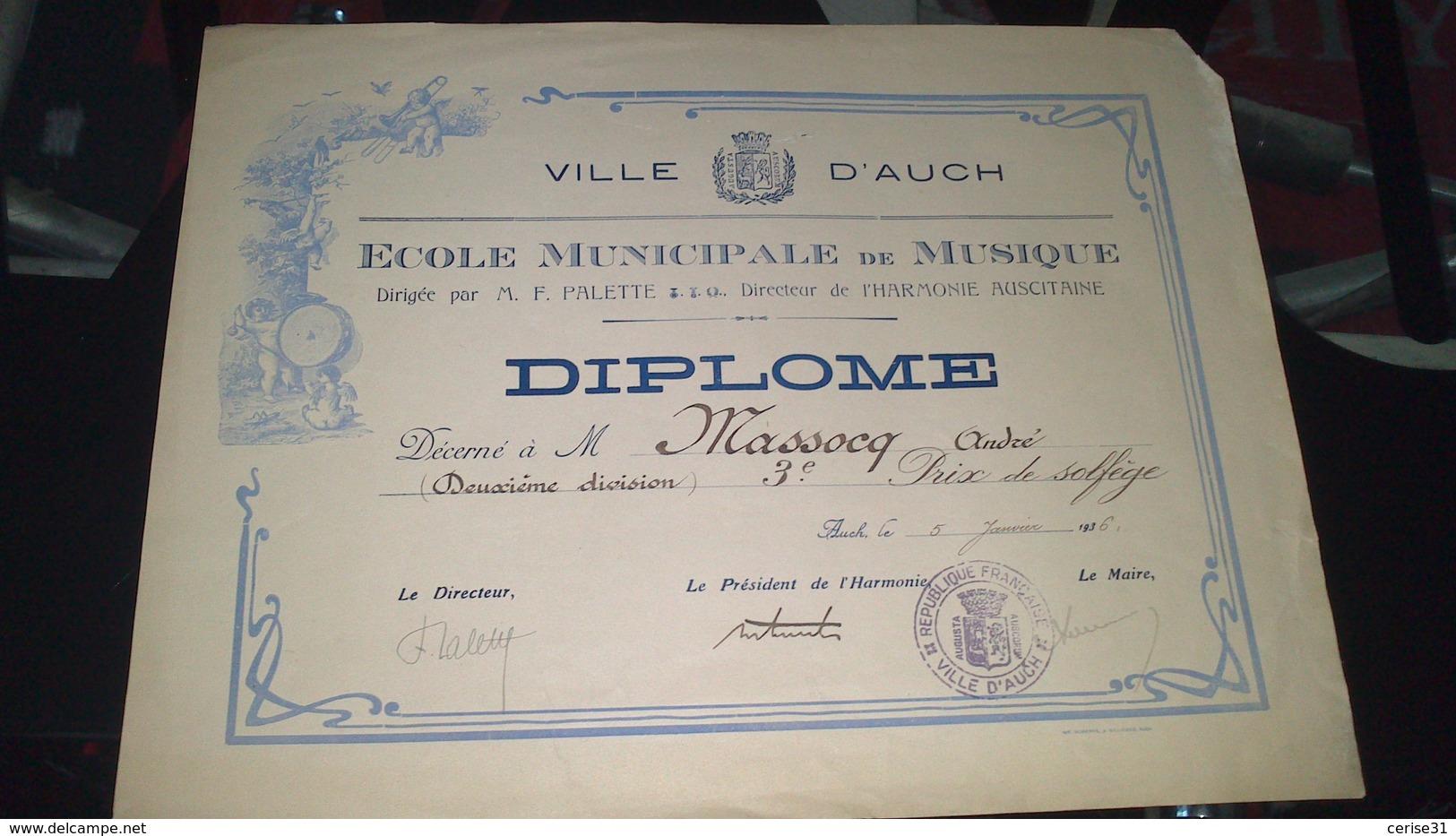 Diplôme -  VILLE D'AUCH - DIPLOME école Municipale De Musique De M. MASSOCQ Serge à AUCH 3e Prix - Diploma & School Reports