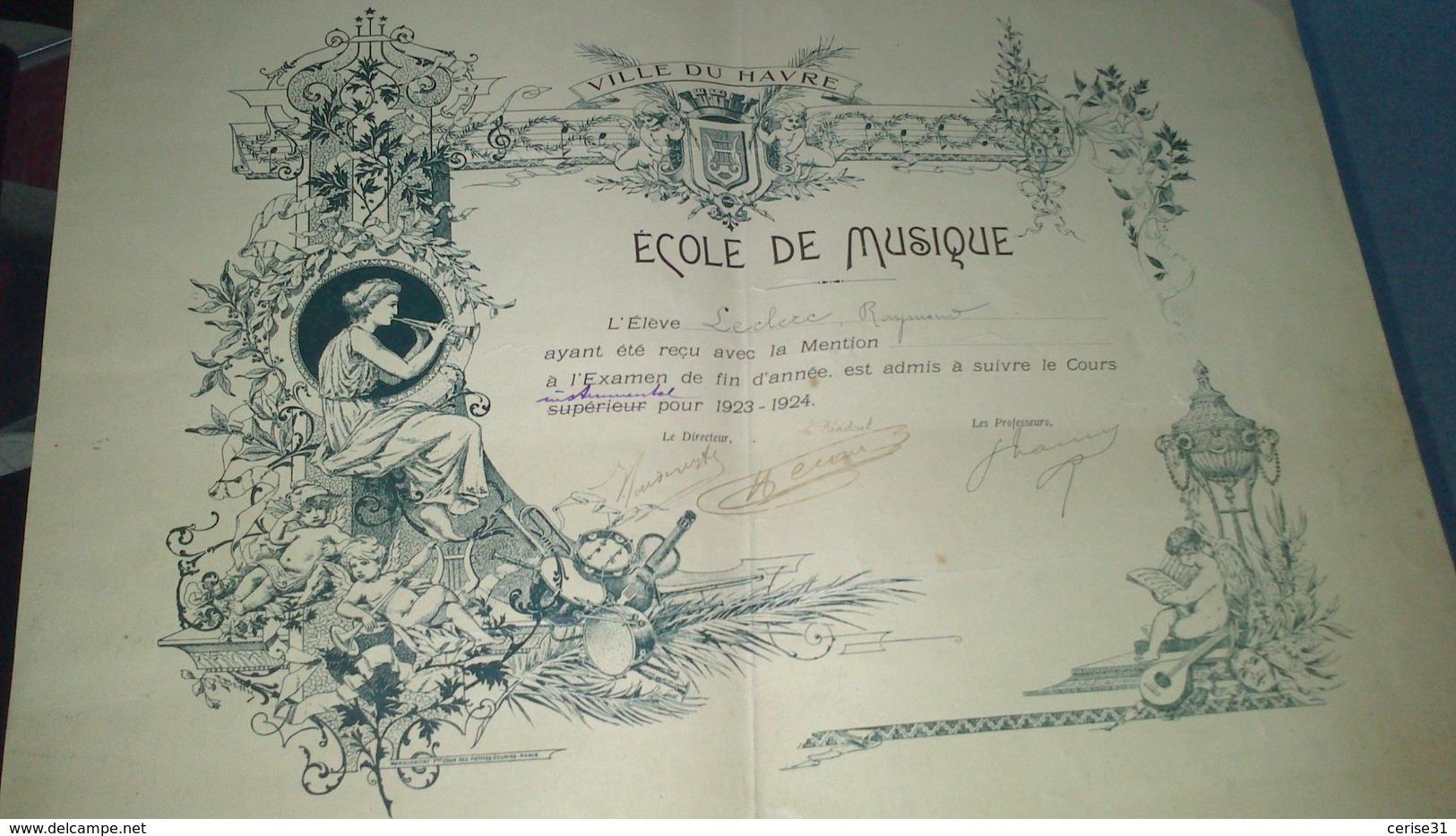 Diplôme -  VILLE DU HAVRE - ECOLE DE MUSIQUE  De Leclerc Raymond Au Havre - Diplômes & Bulletins Scolaires