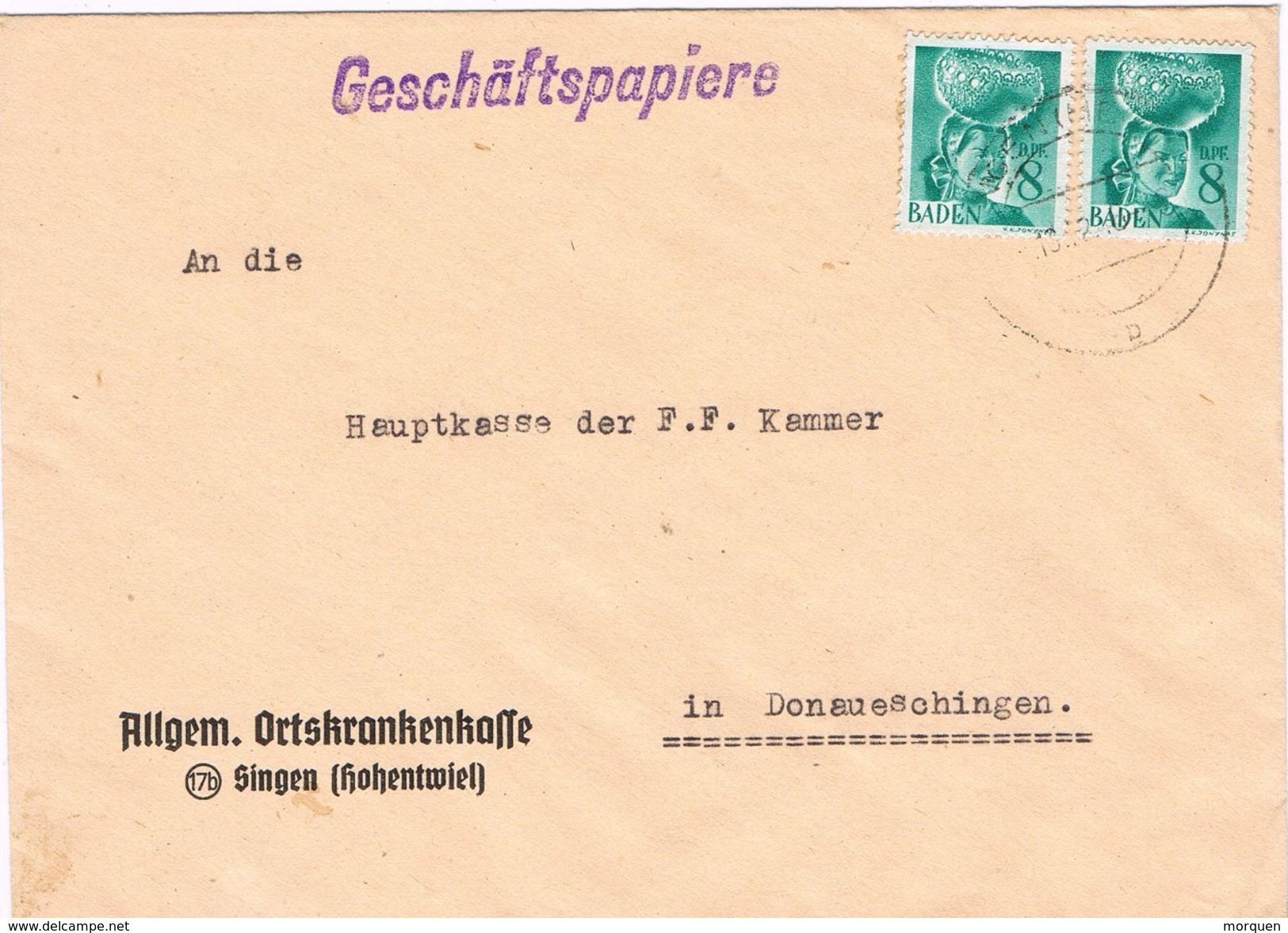 26159. Carta SINGEN (Alemania Zona Ocupacion Francesa) 1948. BADEN Stamps - Zona Francesa