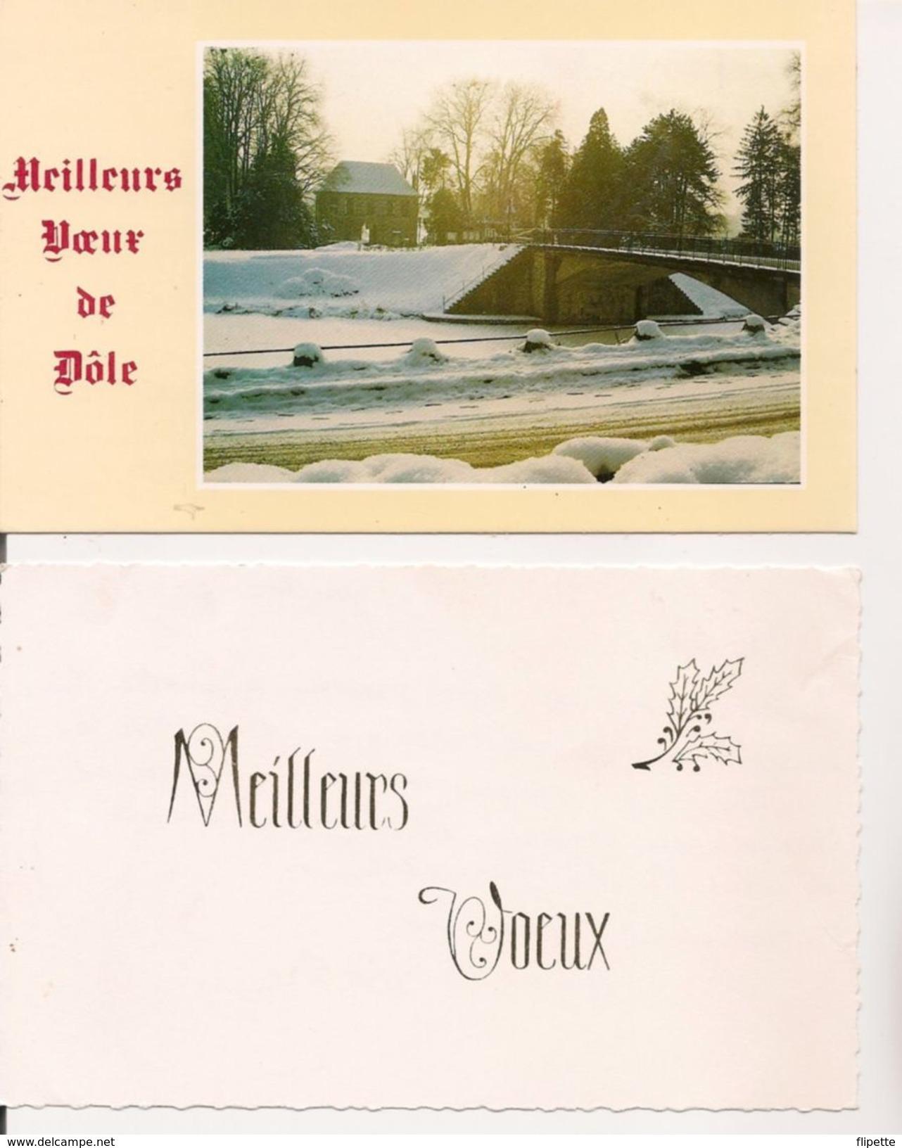 L32B021 - Lot De Deux Petites Cartes - Bonne Année - Paysages De Neige - New Year