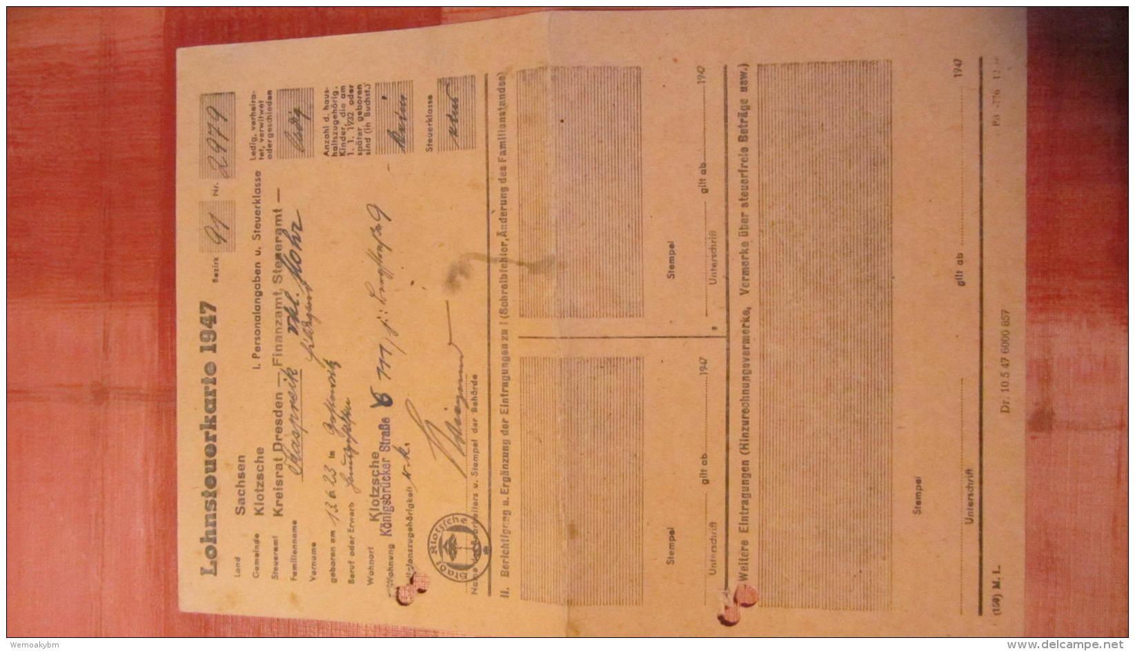 Lohnsteuerkarte 1947 Aus Dresden-Klotzsche Bezirk 91 Mit Aktenlochung - Historische Dokumente