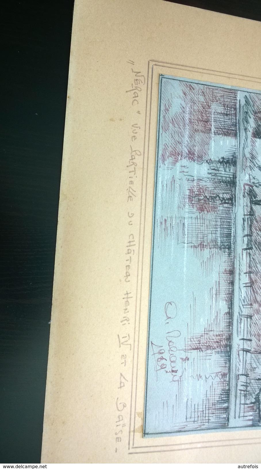 NERAC  VUE PARTIELLE DU CHATEAU HENRI IV ET LA BAISE  -  A NALAU ?  1969  SUR PAPIER A DESSIN   ENCRE ET CRAIE - Zeichnungen