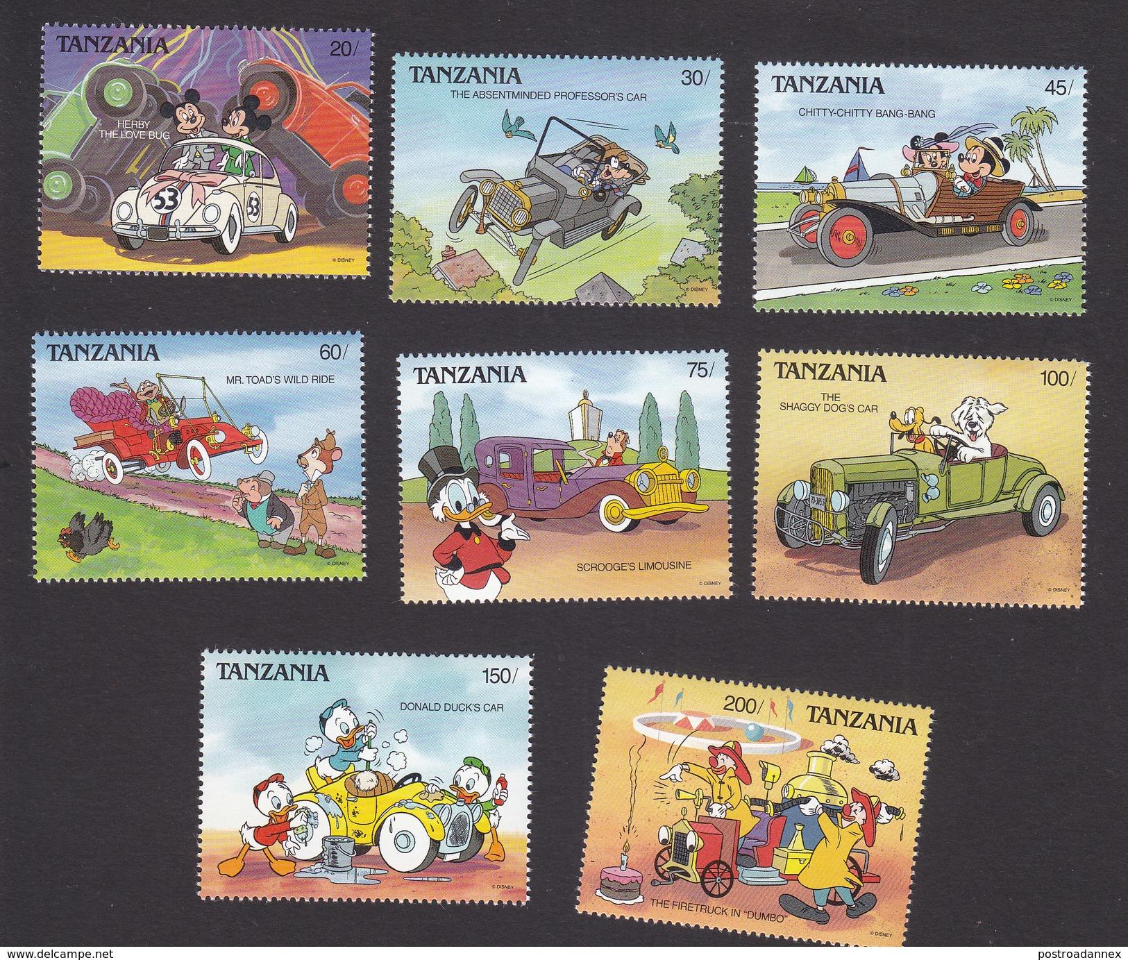 Tanzania, Scott #570-577, Mint Hinged, Disney, Issued 1990 - Tanzania (1964-...)
