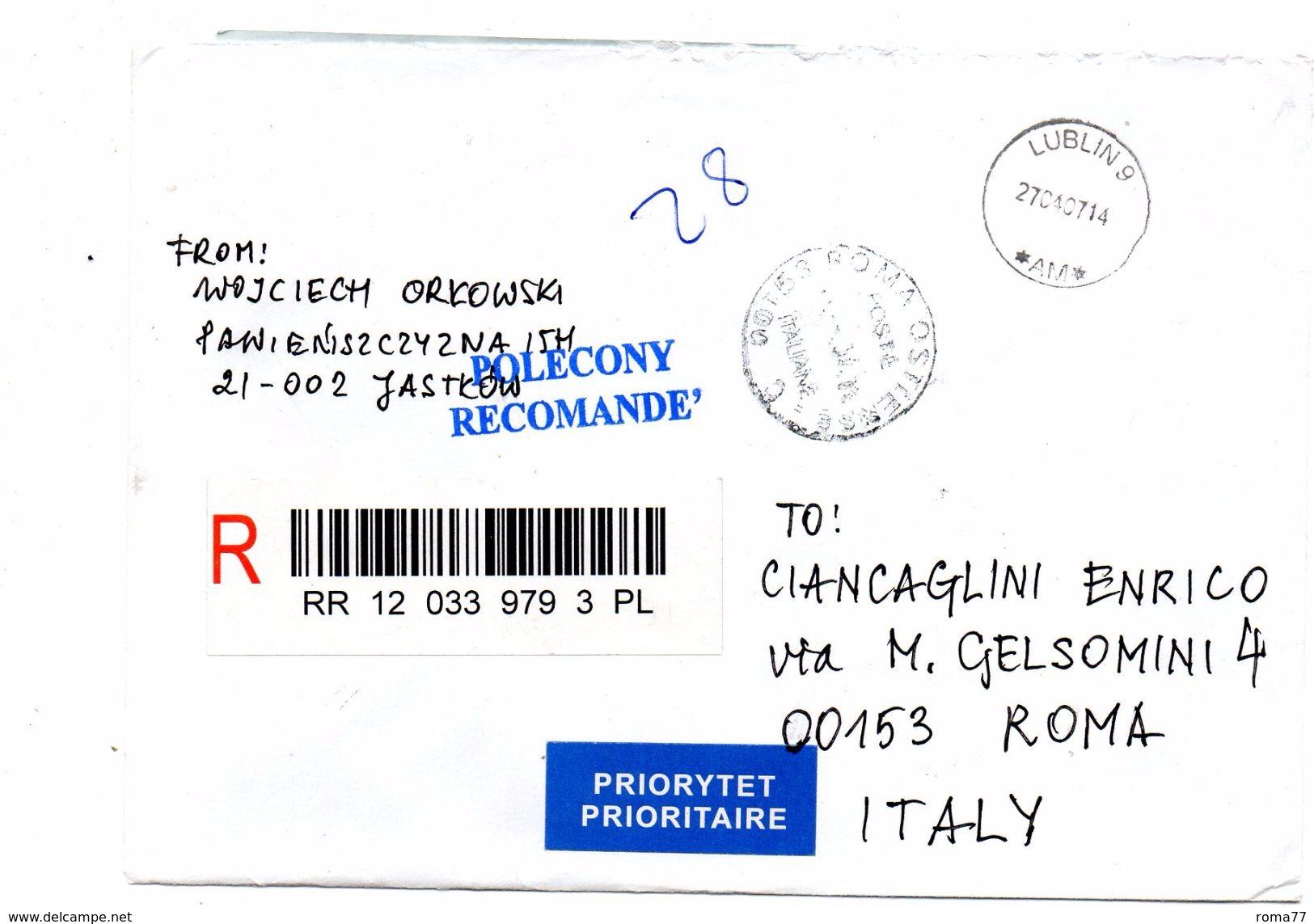 EDB10 - POLONIA 2003 , Lettera Del 27/4/2007 Per Roma - Blocchi E Foglietti