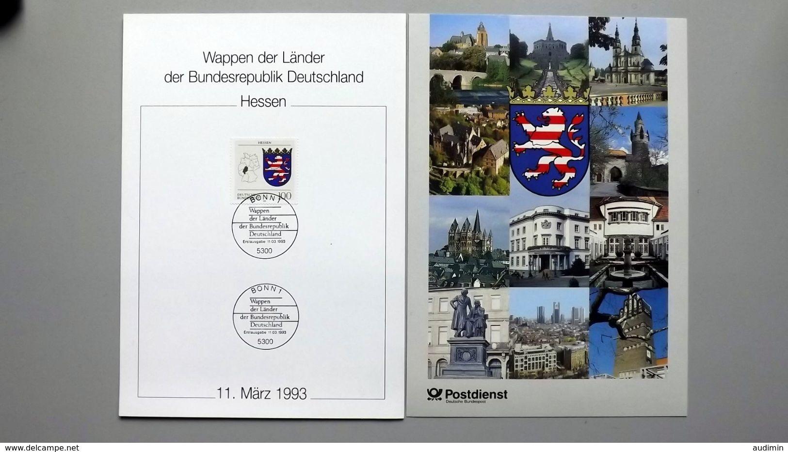 """Deutschland Erinnerungsblatt """"Wappen Der Länder - Hessen"""" Mit Bund 1660 ESST Bonn - Covers & Documents"""