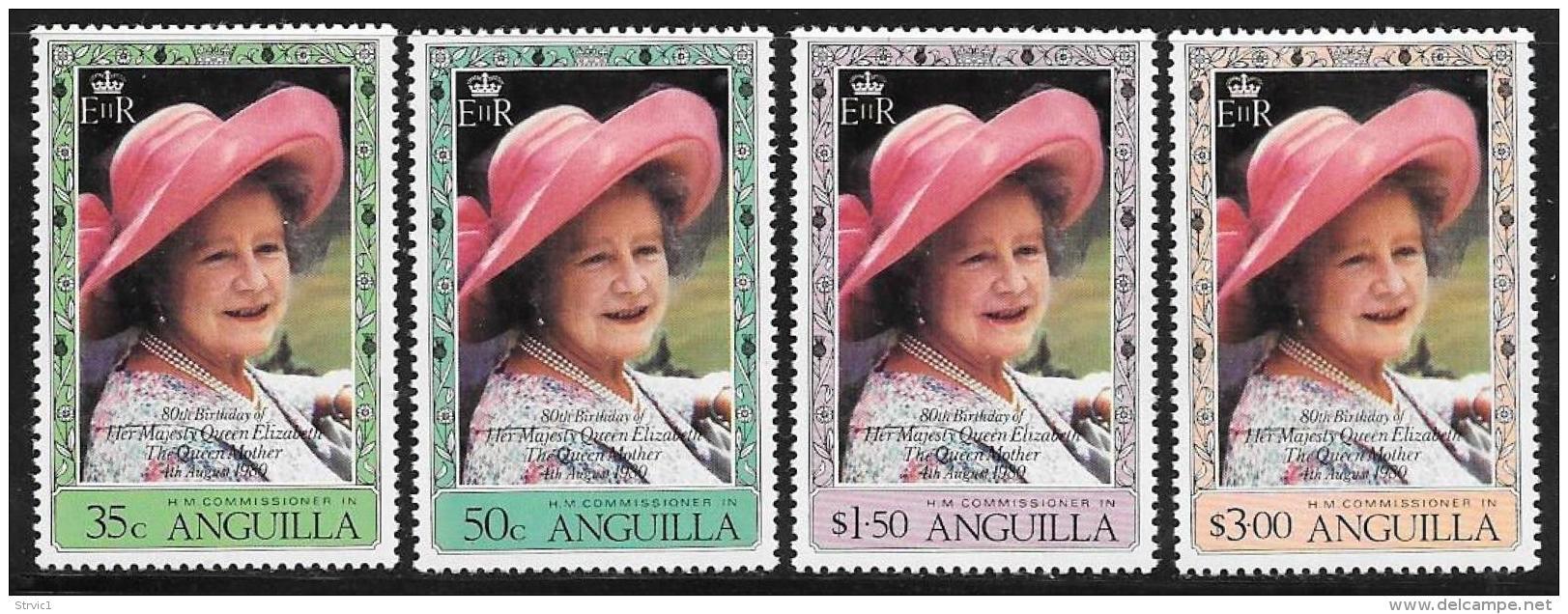 Anguilla, Scott # 394-7 MNH Queen Mother 80th Birthday, 1980 - Anguilla (1968-...)