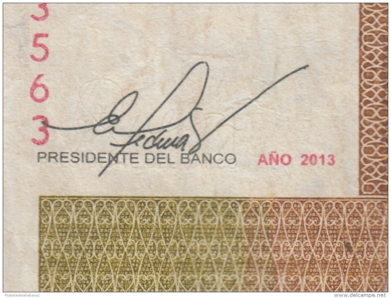 2013-BK-45 CUBA 2013 1 Cuc REEMPLAZO REPLACEMENT USED SERIE AZ. DOBLE FIRMA ERROR - Cuba