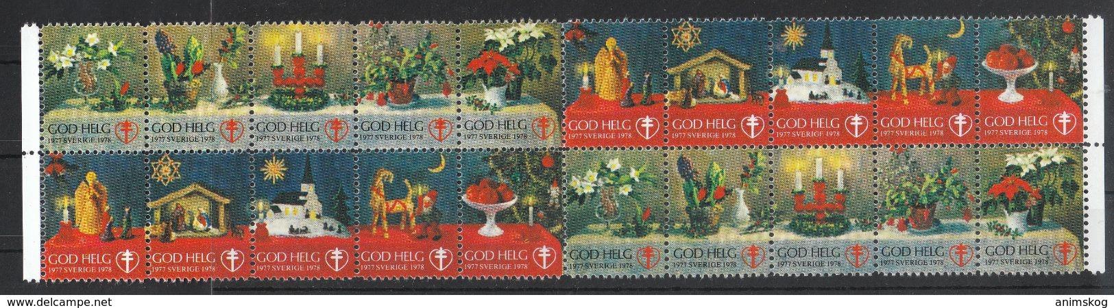 Schweden 1978, Weihnachtsmarken, Weihnachtskaktus, Vignette / Sweden 1978, Christmas Stamps,Christmas Cactus, Cinderella - Fantasie Vignetten