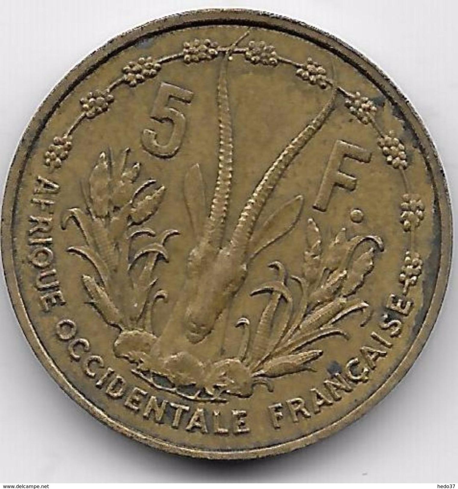Afrique Occidentale Française - 5 Francs 1956 - Monnaies