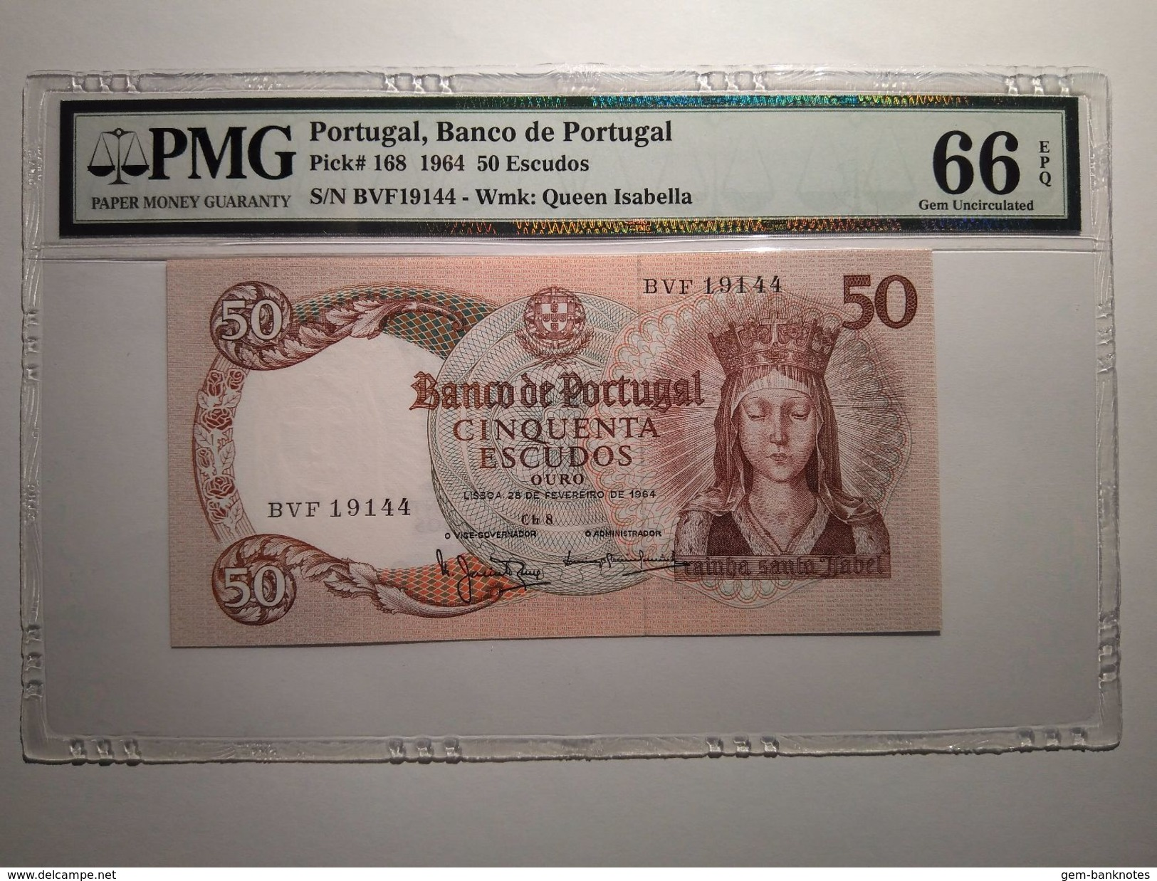Portugal 50 Escudos 1964 P168 Graded 66 EPQ By PMG (GEM UNCIRCULATED) - Portugal