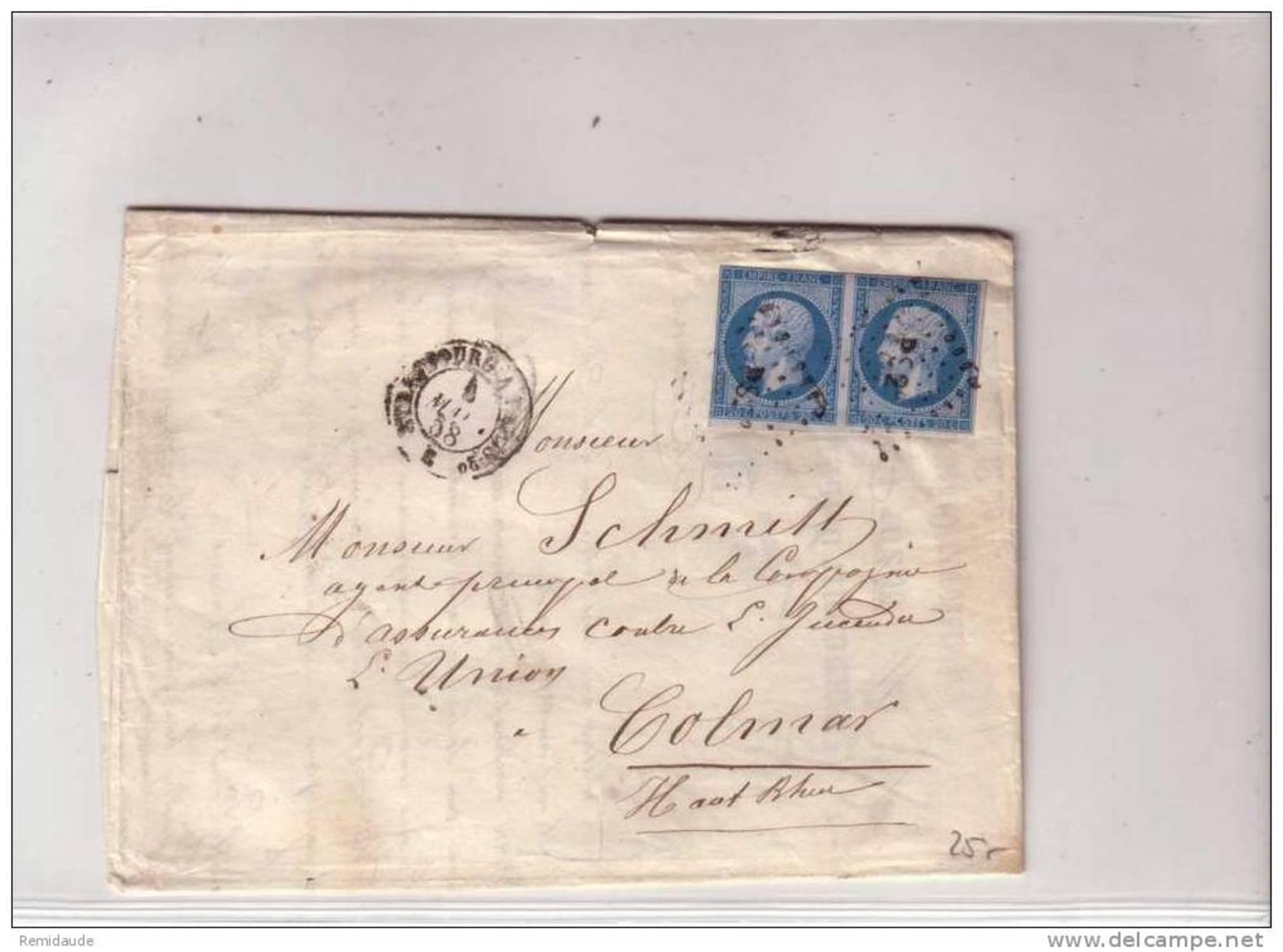 1858 - NAPOLEON III - YVERT N°14A Paire Sur LETTRE De STRASBOURG (BAS RHIN) Pour COLMAR Par AMBULANT PS2 - 1849-1876: Période Classique