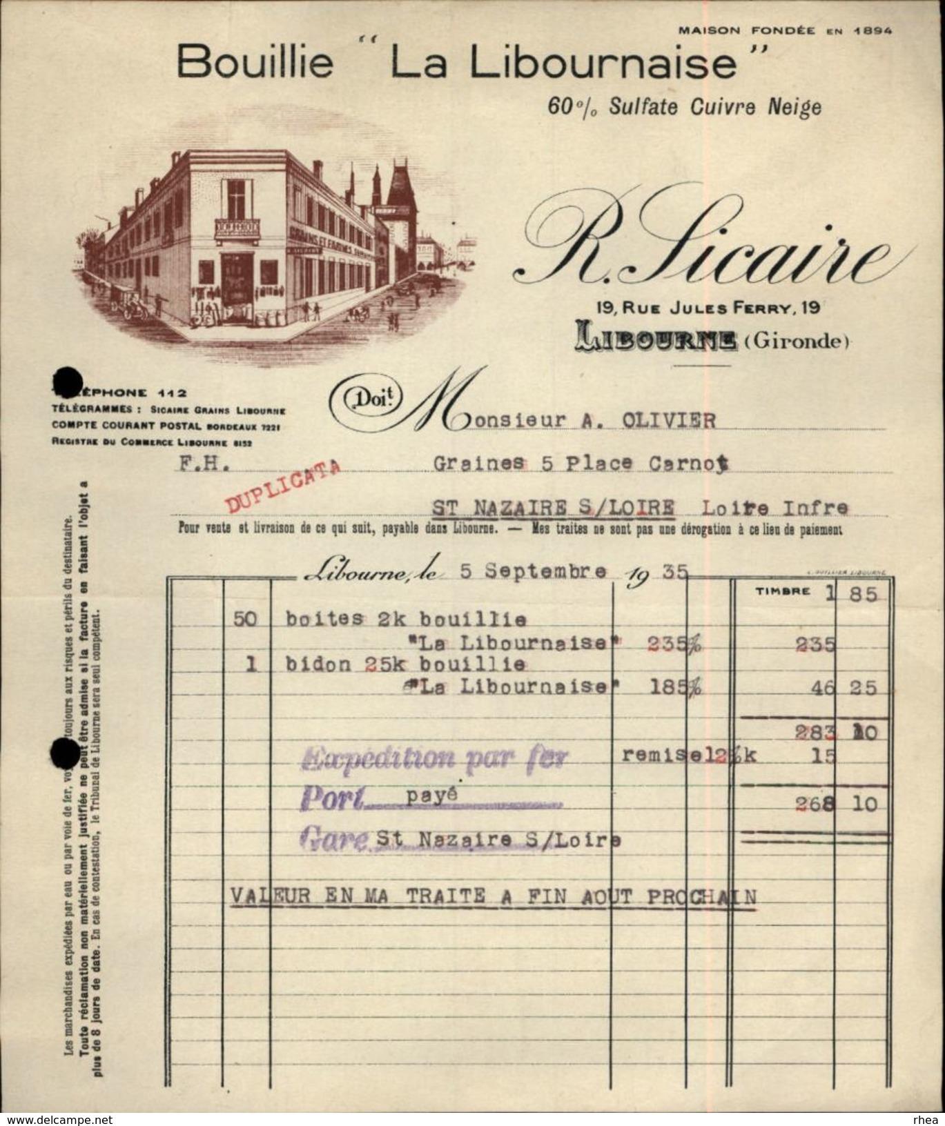 33 - LIBOURNE - FACTURE - Bouillie La Libournaise - R. Sicaire - Agriculture