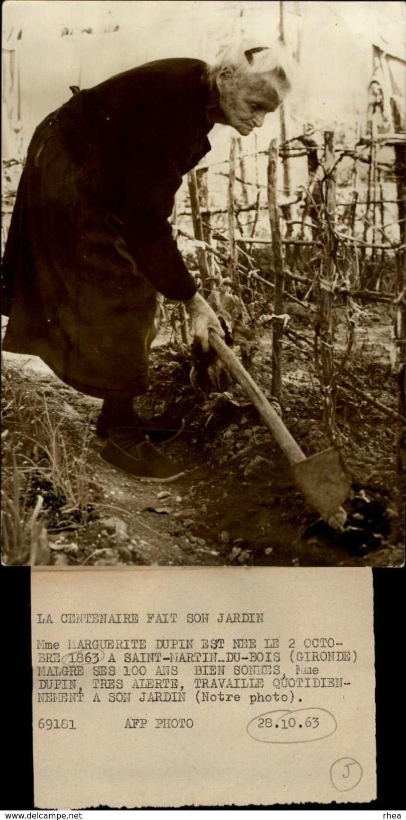 33 - SAINT-MARTIN-DU-BOIS - Photo De Presse - La Cetenaire Fait Son Jardin - Marguerite Dupin - 1963 - Lieux