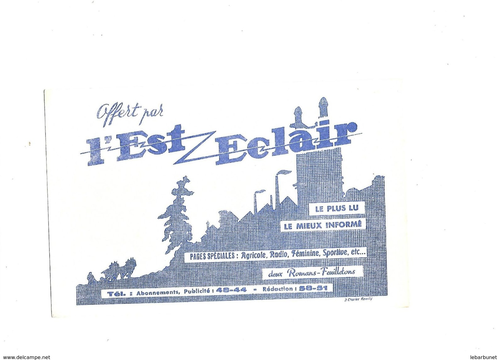 Buvard  Journal L'Est Eclair - Buvards, Protège-cahiers Illustrés