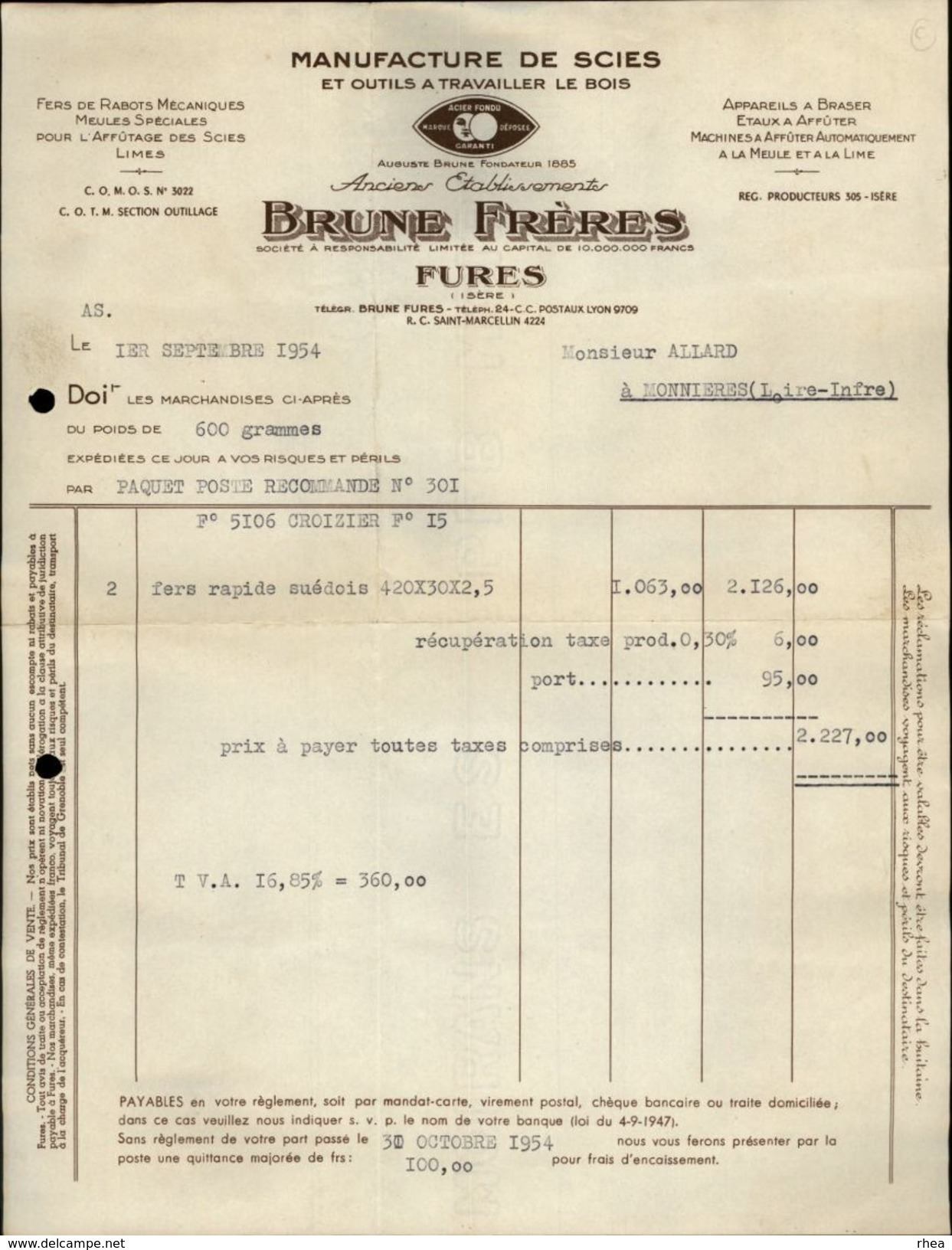 38 - FURES - Manufacture De Scies - Brune Frères - Bois - France
