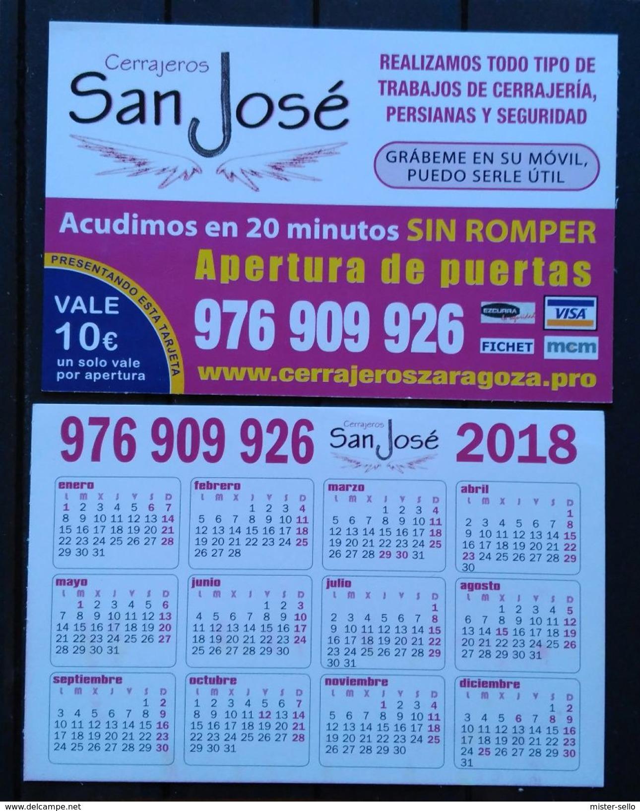 ESPAÑA 2018. CERRAJEROS SAN JOSE - ZARAGOZA. - Calendarios