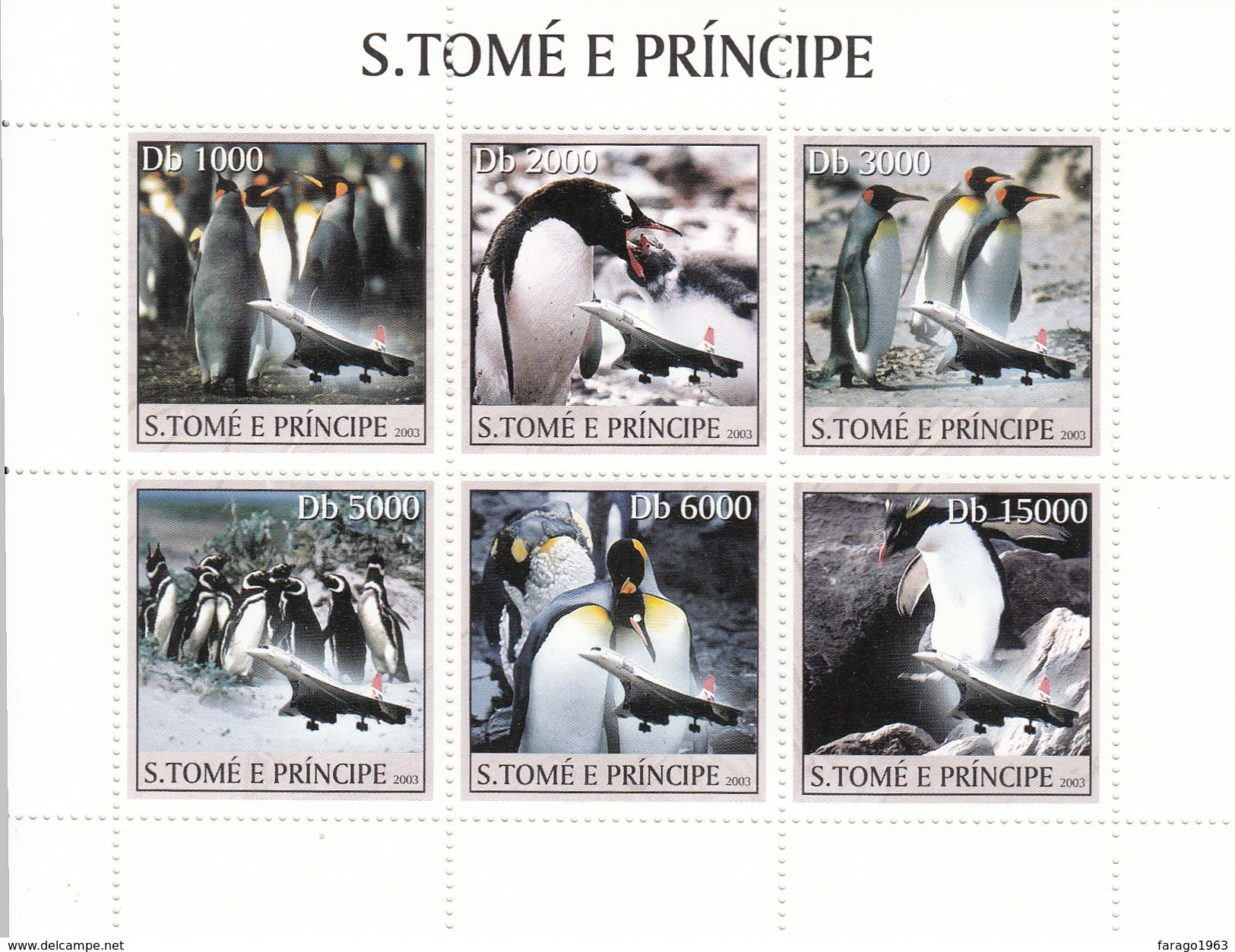 2003 Sao Tome Thomas Dolphins Miniature Sheet Of 6  MNH   FRACTION OF FACE VALUE - Pinguine