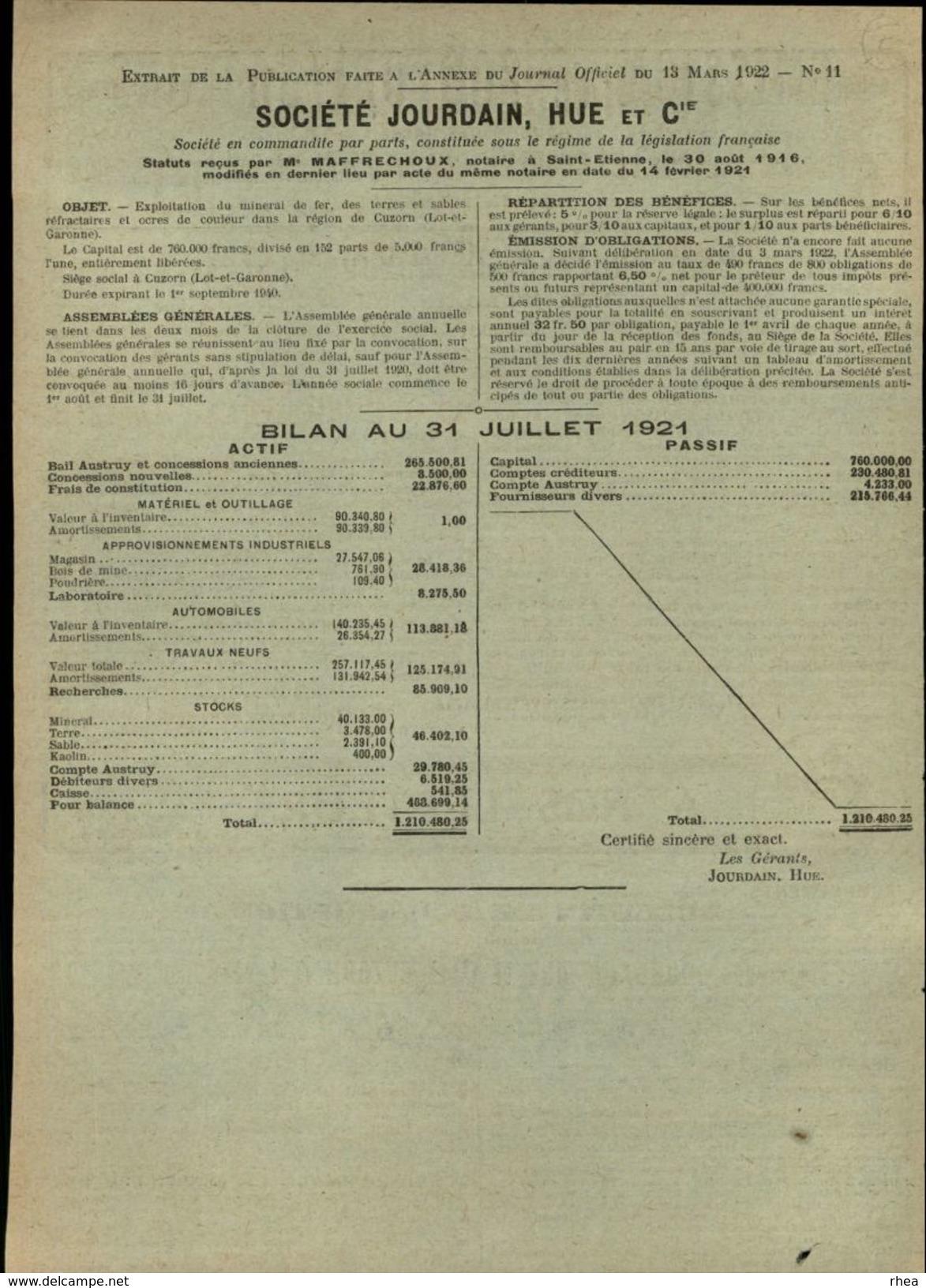 47 - CUZORN - Emission De 800 Obligations - Exploitations Minières - Feuillet Issu D'une Revue De 1922 - France