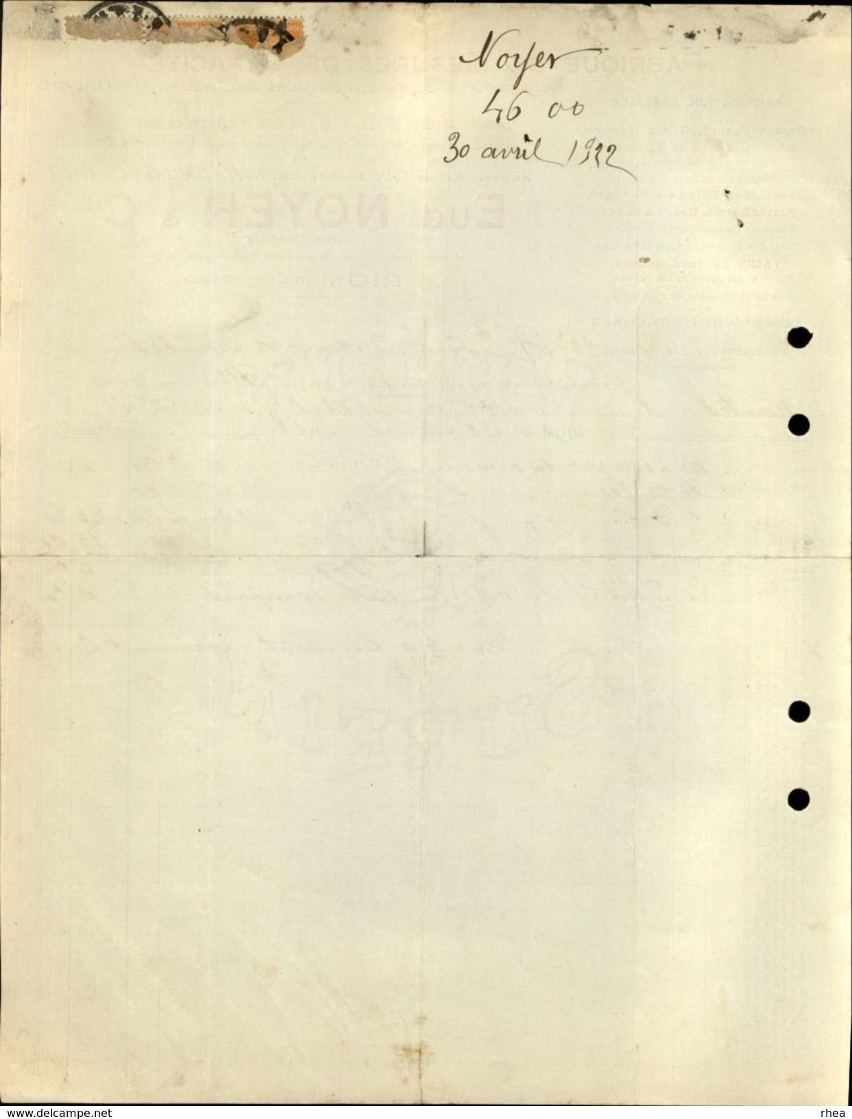 63 - RIOM - Facture - Fabrique De Mesures De Capacité - 1922 - France