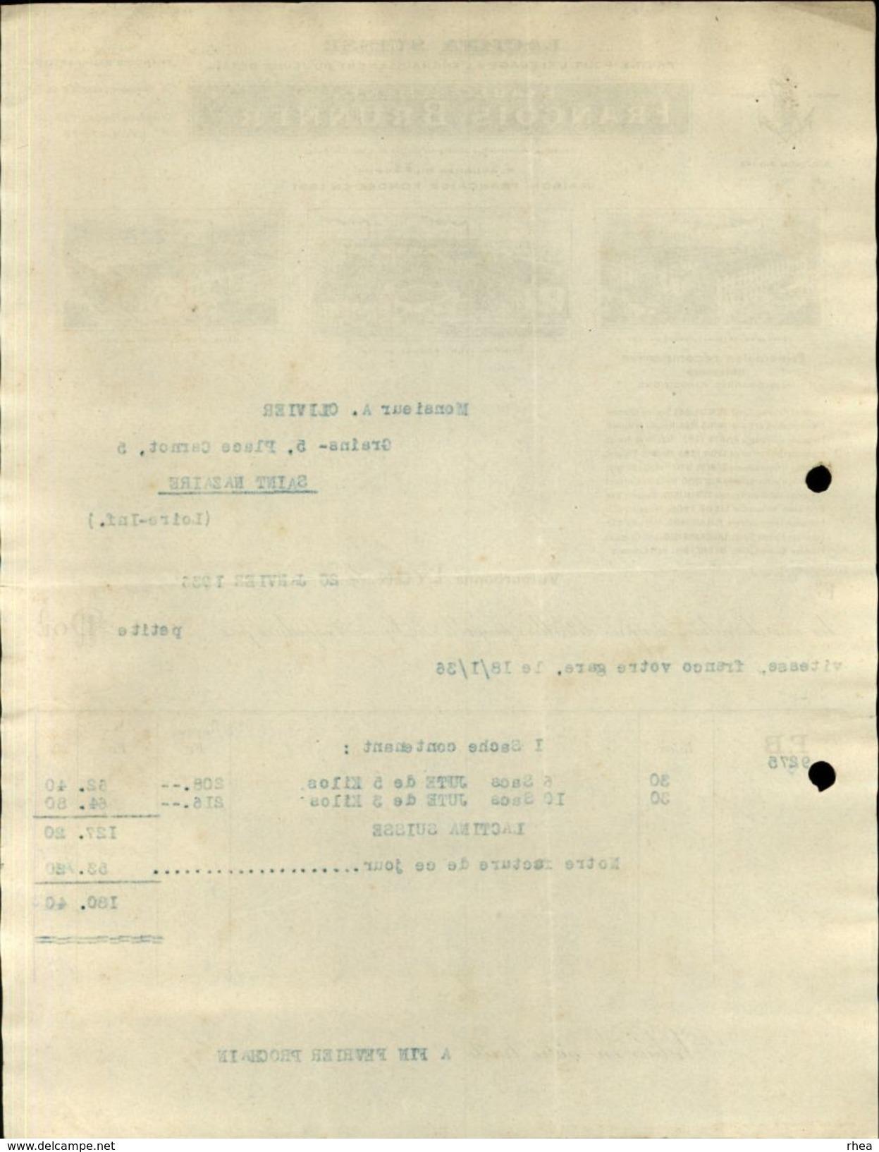 69 - VILLEUBANNE - LYON - Facture - Facture Pour L'élevage Et L'engraissement Du Bétail - Lactina Suisse - Agriculture
