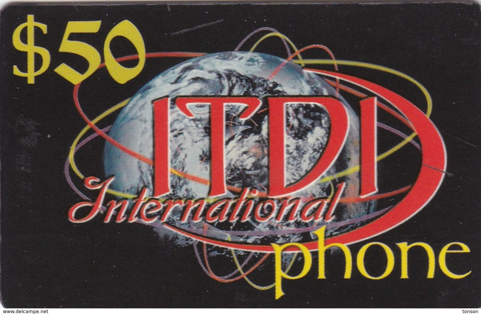 Palestine, PL-PRE-IDT-0002, ITDI International Phone, $50, Unused, 2 Scans . - Palestina