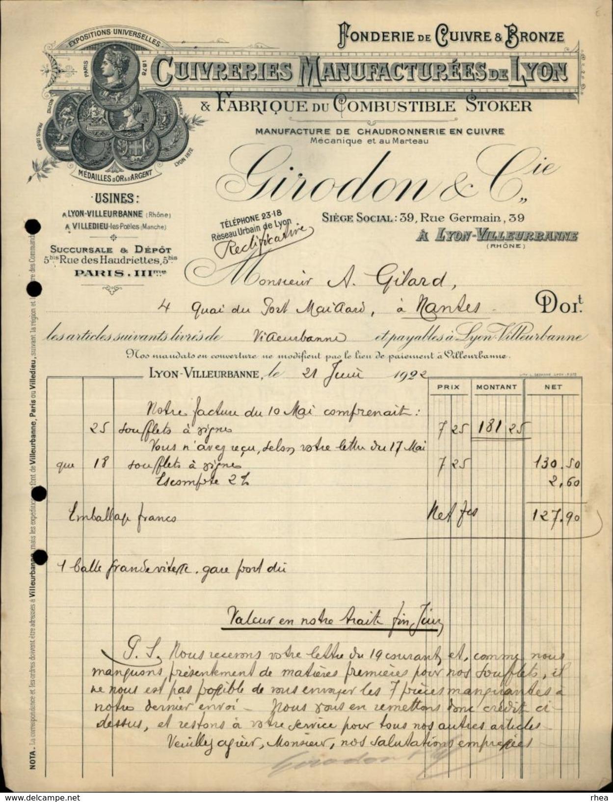 69 - LYON - Facture - Fonderie De Cuivre Et Bronze - Cuivreries - Girodon & Cie - 1922 - Agriculture