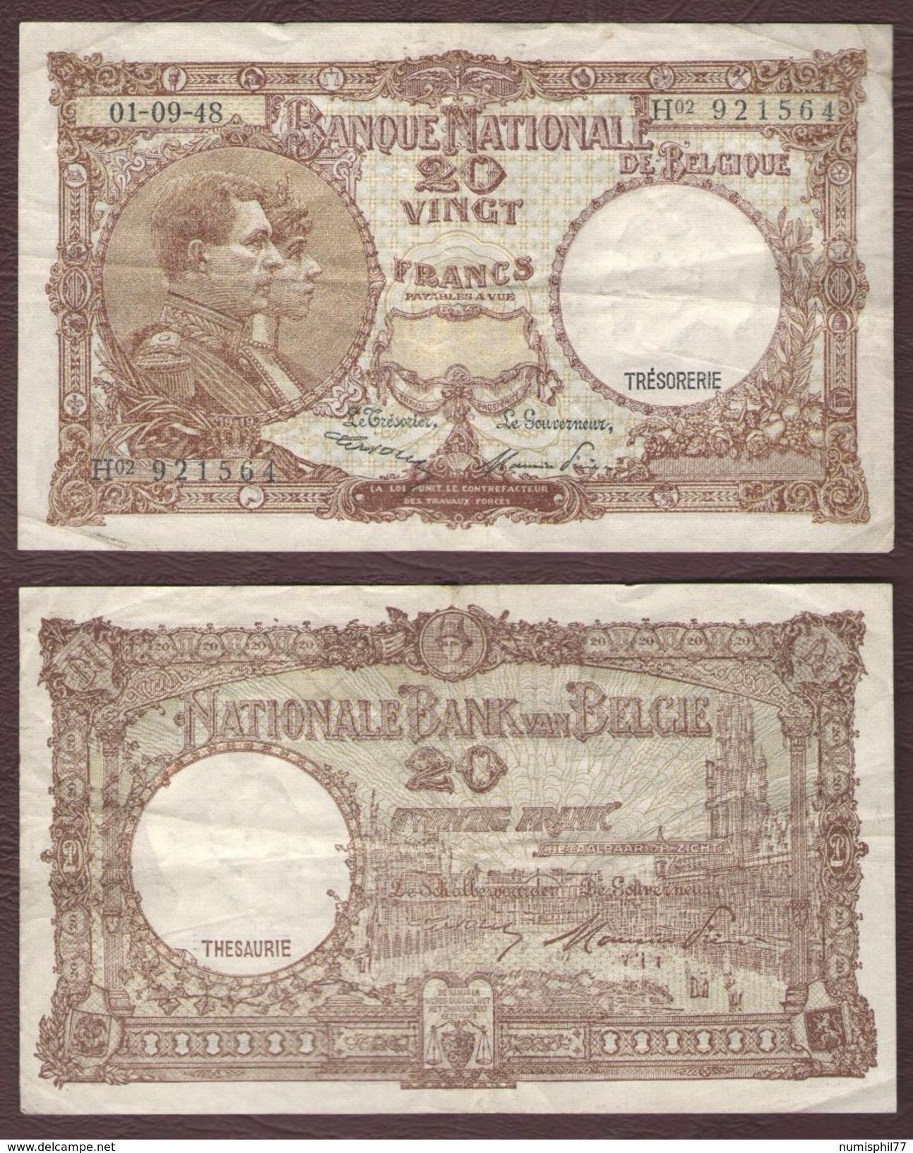 BELGIQUE - 20 FRANCS Albert Et Elisabeth - 01/09/1948 - [ 6] Treasury