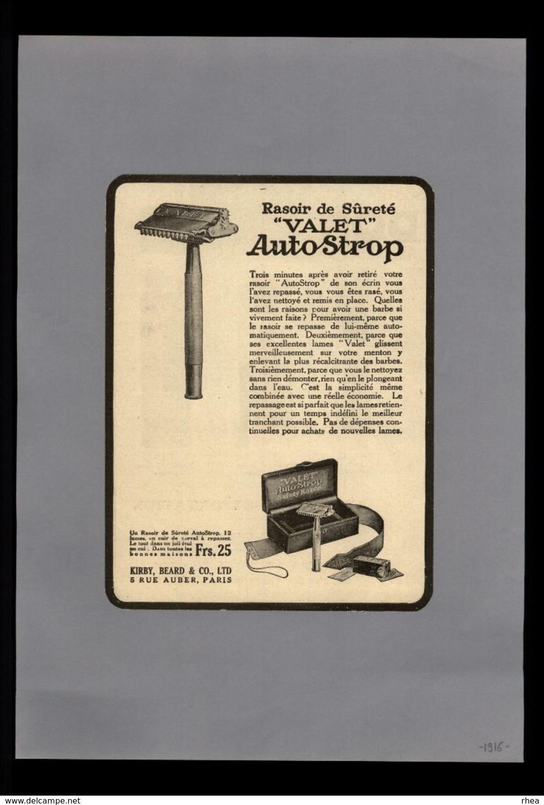 PUBLICITES - Rasoir Valet - Pub Issue D'une Revue De 1916 Et Collée Sur Feuille - Publicités