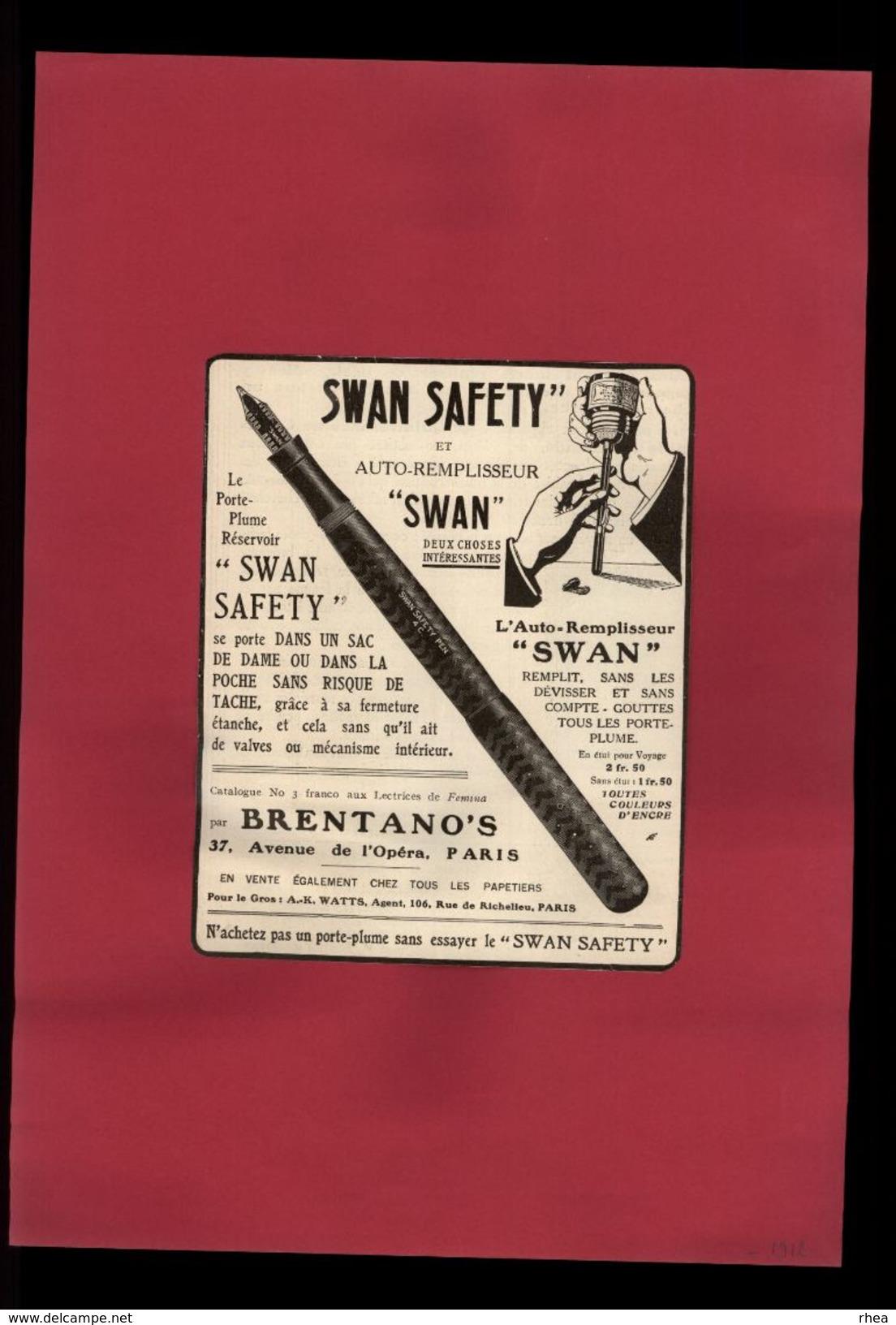 PUBLICITES - Stylo Swan Safety - Encre - Pub Issue D'une Revue De 1912 Et Collée Sur Feuille - Publicités