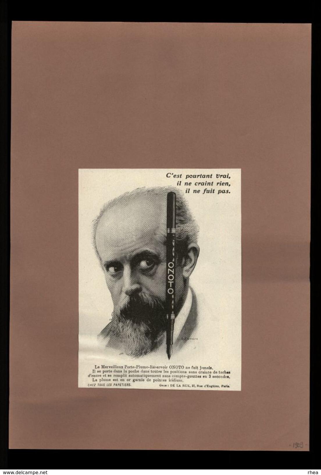 PUBLICITES - Stylo Onoto - Pub Issue D'une Revue De 1909 Et Collée Sur Feuille - Publicités