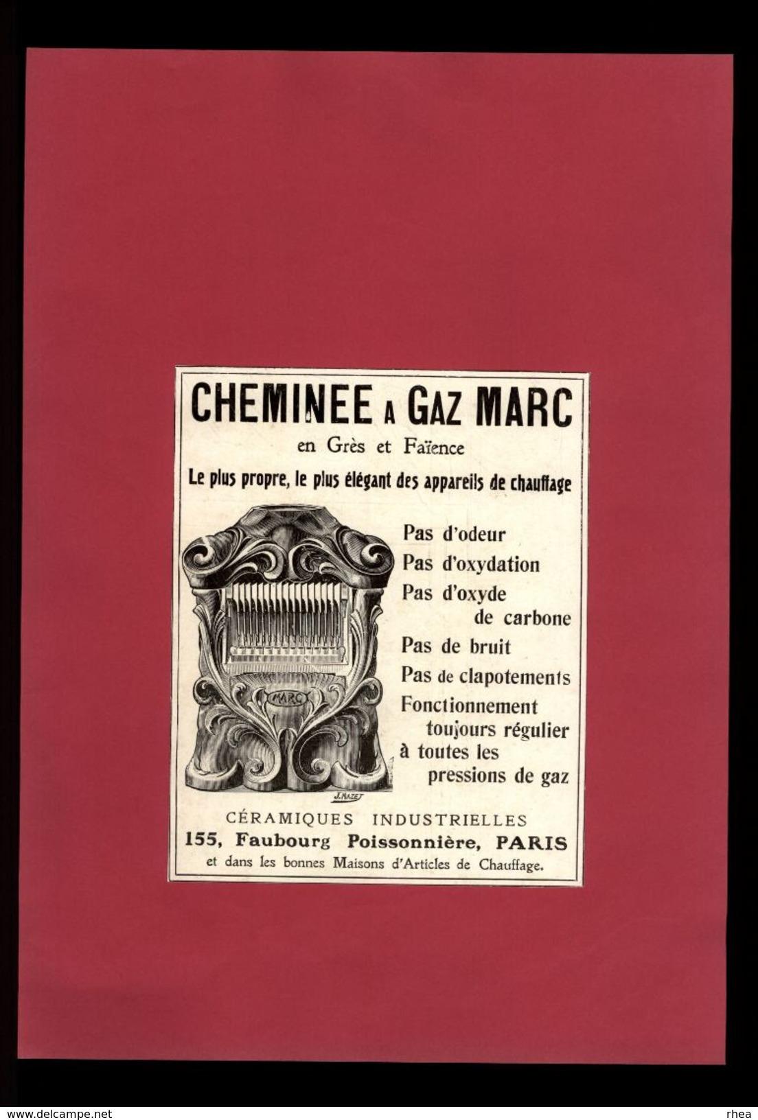PUBLICITES - Cheminée à Gaz Marc - Pub Issue D'une Revue De 1929 Et Collée Sur Feuille - Publicités