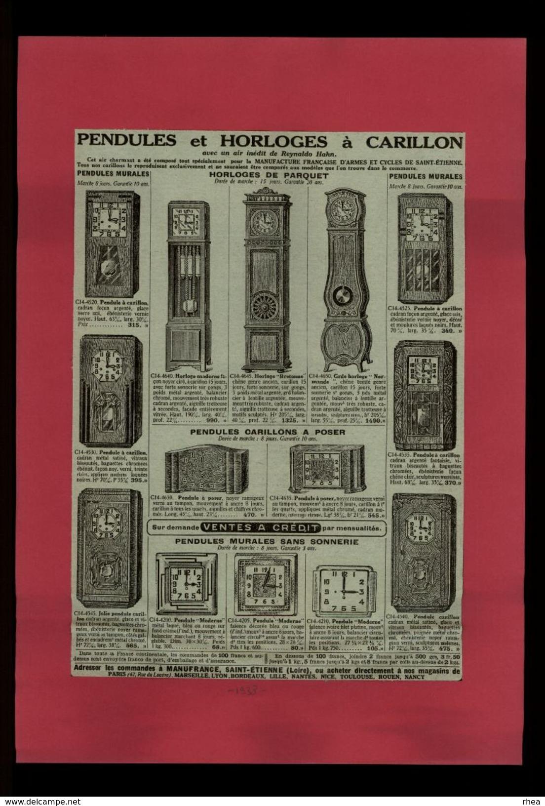 PUBLICITES - Pendules Et Horloges à Carillon - Pub Issue D'une Revue De 1938 Et Collée Sur Feuille - Publicités