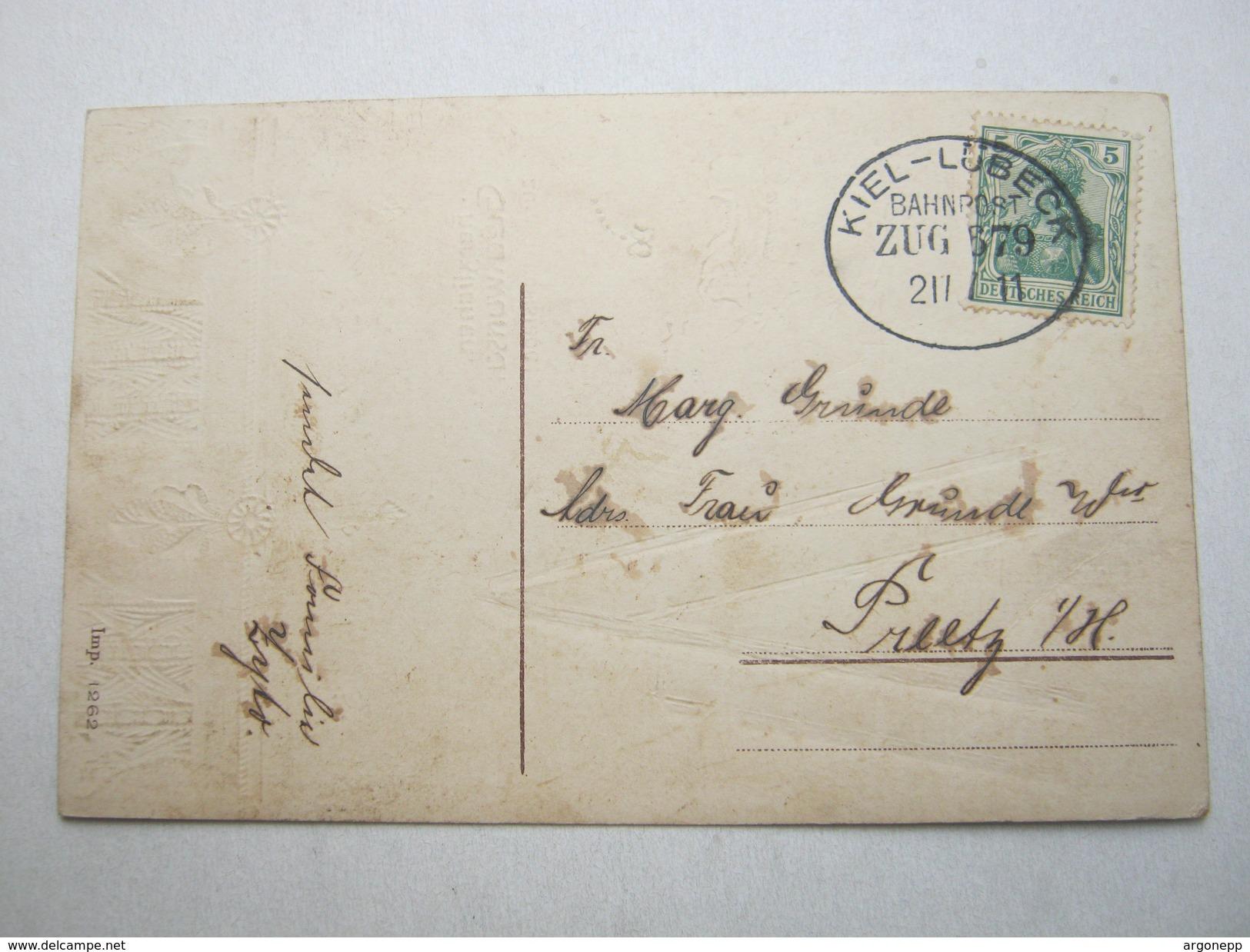 1911 , KIEL - LÜBECK ,  Klarer Bahnpost Stempel Auf Karte - Duitsland