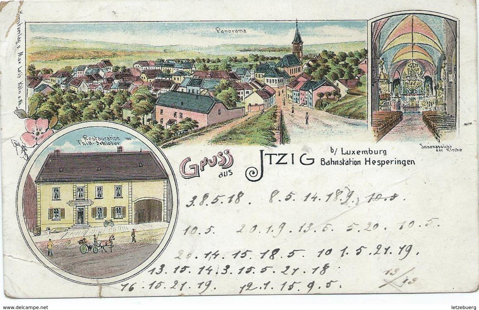 Itzig (Izeg) - Litho Gruss Aus Itzig Bei Luxemburg Bahnstation Hesperingen (siehe Zustand !!) - Sonstige