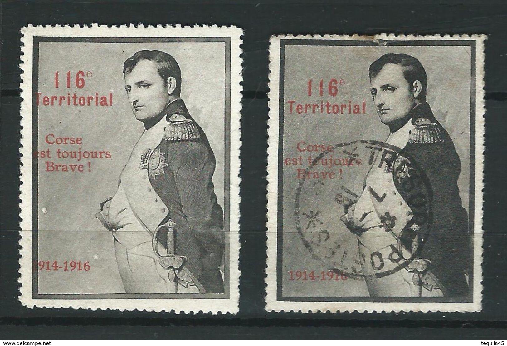 2 Vignettes DELANDRE NAPOLEON 116 ème Territorial WWI WW1 Poster Stamp 1914 1918 Cinderella - Vignettes Militaires