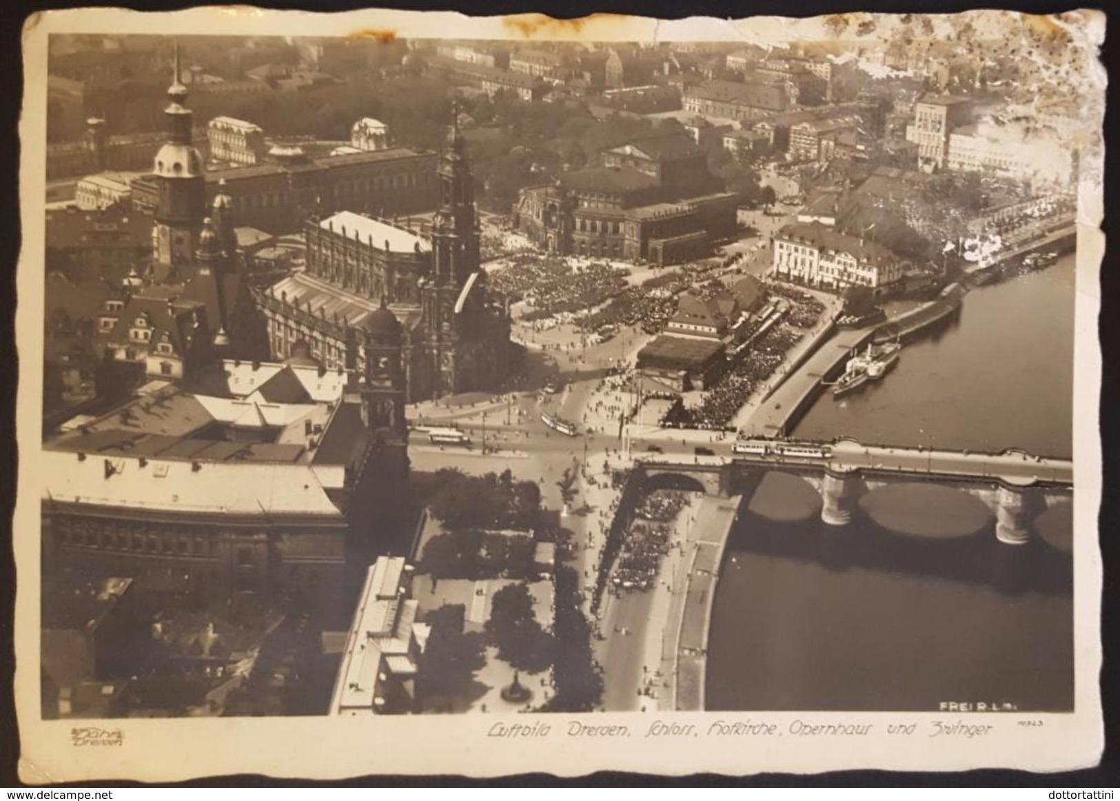 DRESDEN - Luftbild Schloss Hofkirche Opernhaus Und Zwinger - Vg 1942 To Skopje (Bulgaria) - Dresden