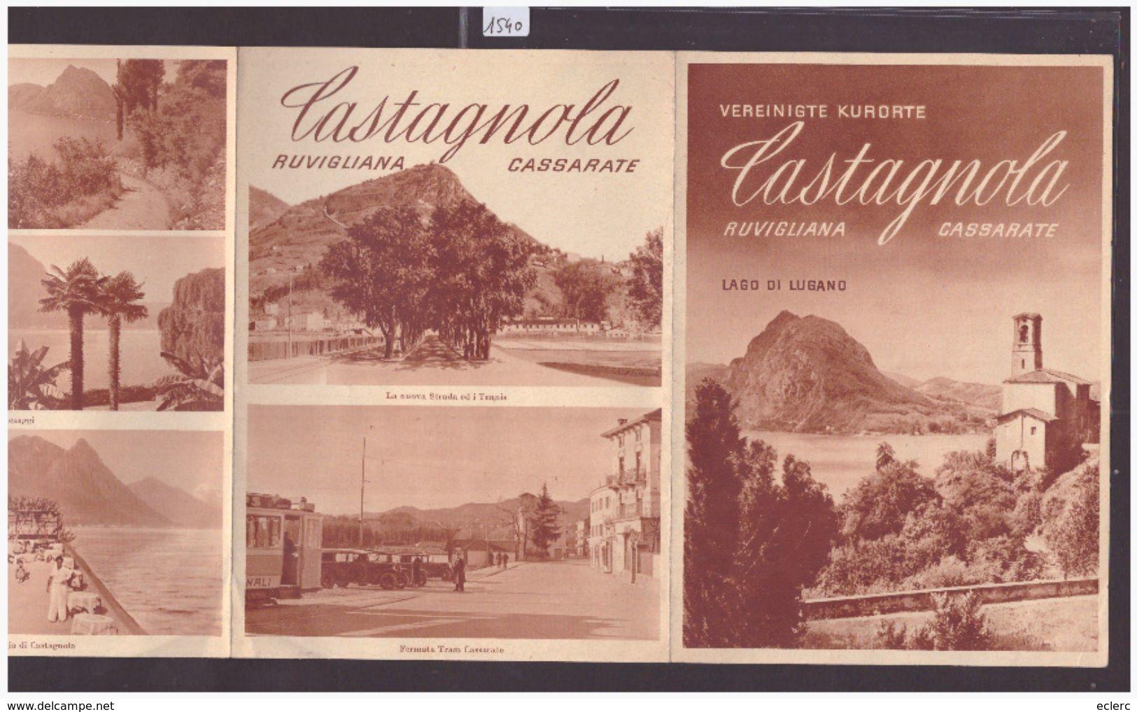TESSIN SUISSE - LAGO DI LUGANO - CASTAGNOLA - DEPLIANT 4 VOLETS - TB - Tourism Brochures