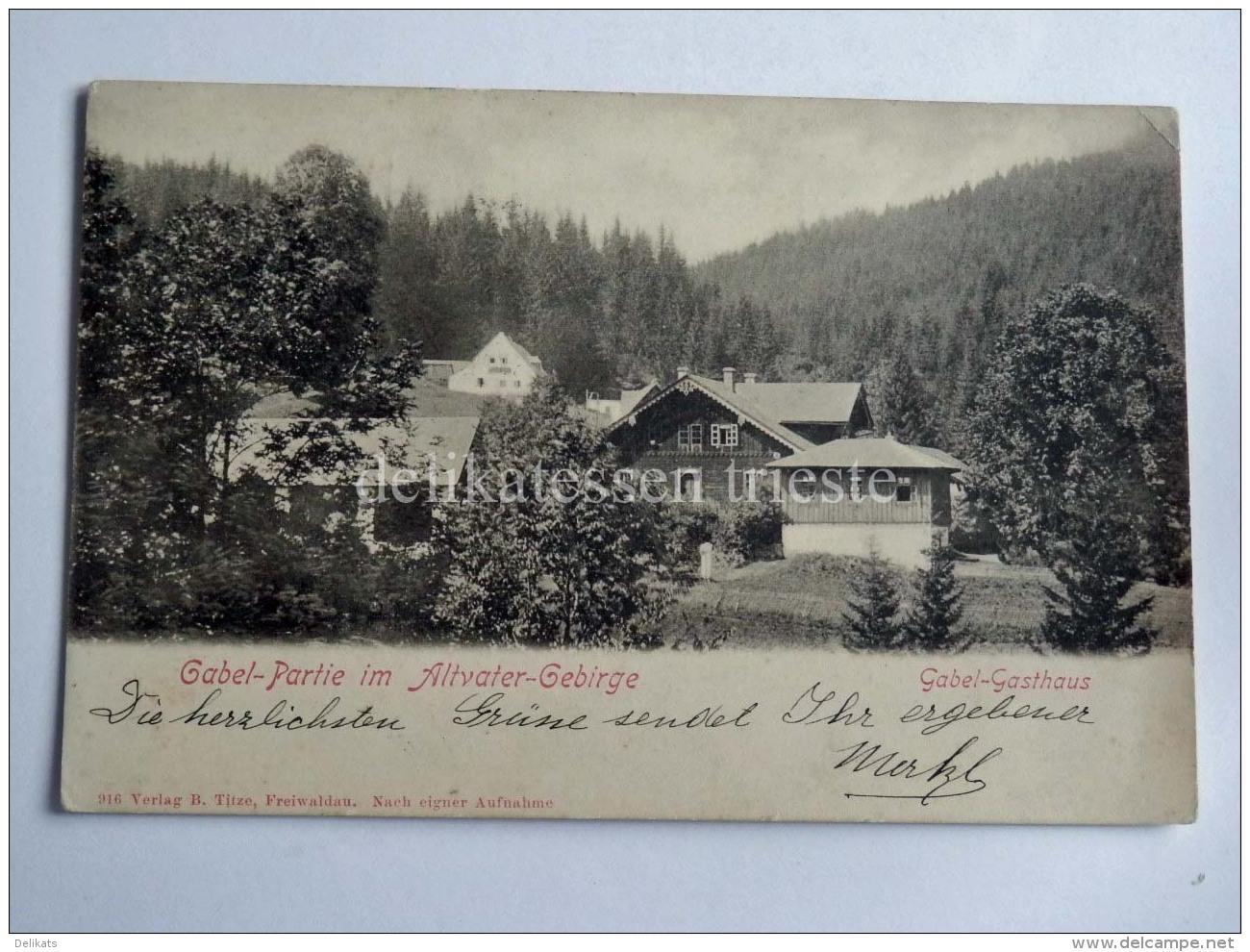 CECHIA CECA Republika Altvatergebirge Hohes Gesenke Gabel Gasthaus AK Old Postcard - Repubblica Ceca
