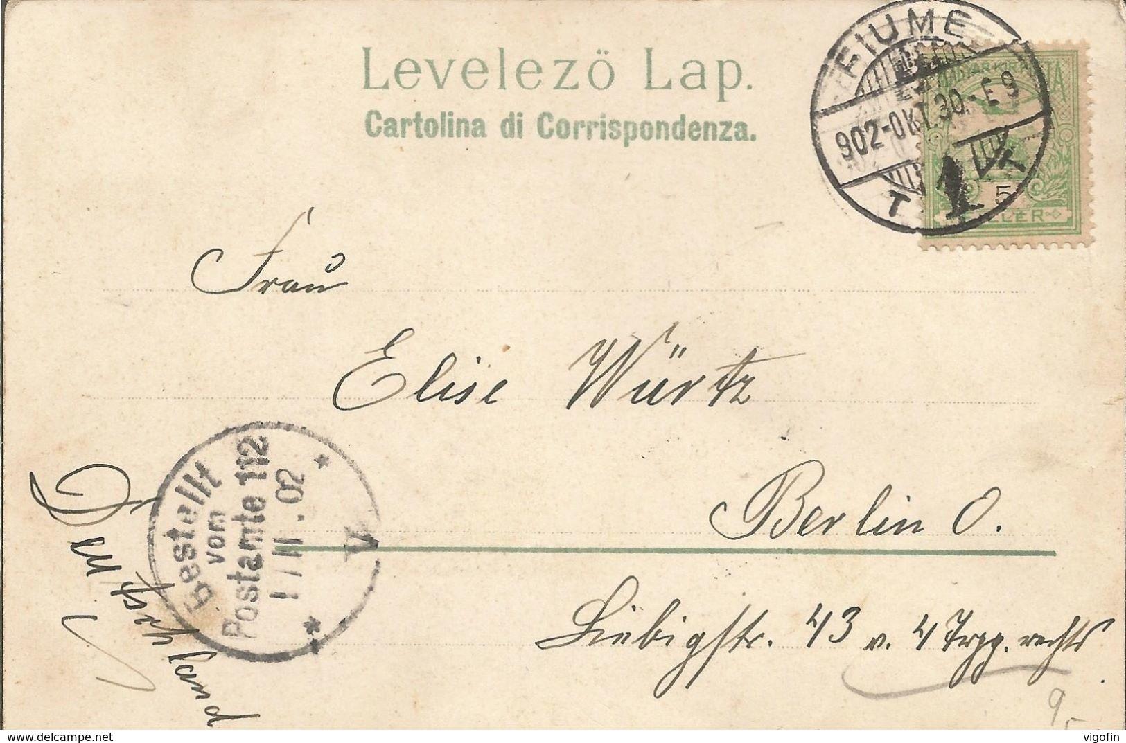 RIJEKA FIUME MOLO ADAMICH ED IL PORTO GRUSS, HRVATSKA CROATIA, PC LITO, Circulated 1902 - Kroatien