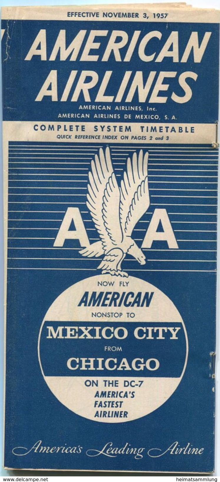 American Airlines - American Airlines De Mexico - Complete System Timetable - 48 Seiten 1957 - World