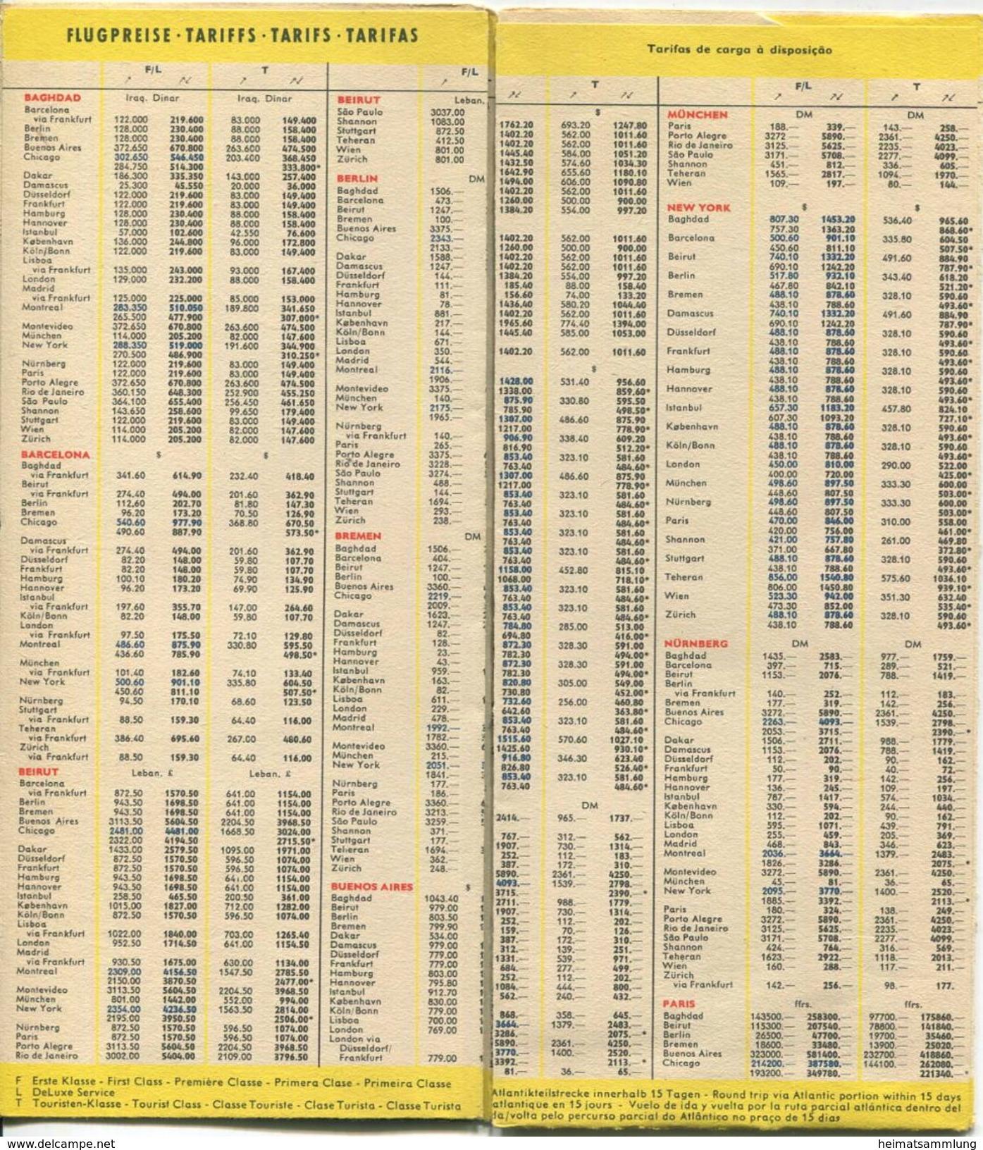 Flugplan Timetable Lufthansa - Gültig Ab 12. Januar 1958 - Faltblatt Mit Preisen Flugzeiten Und Netzspinne - World